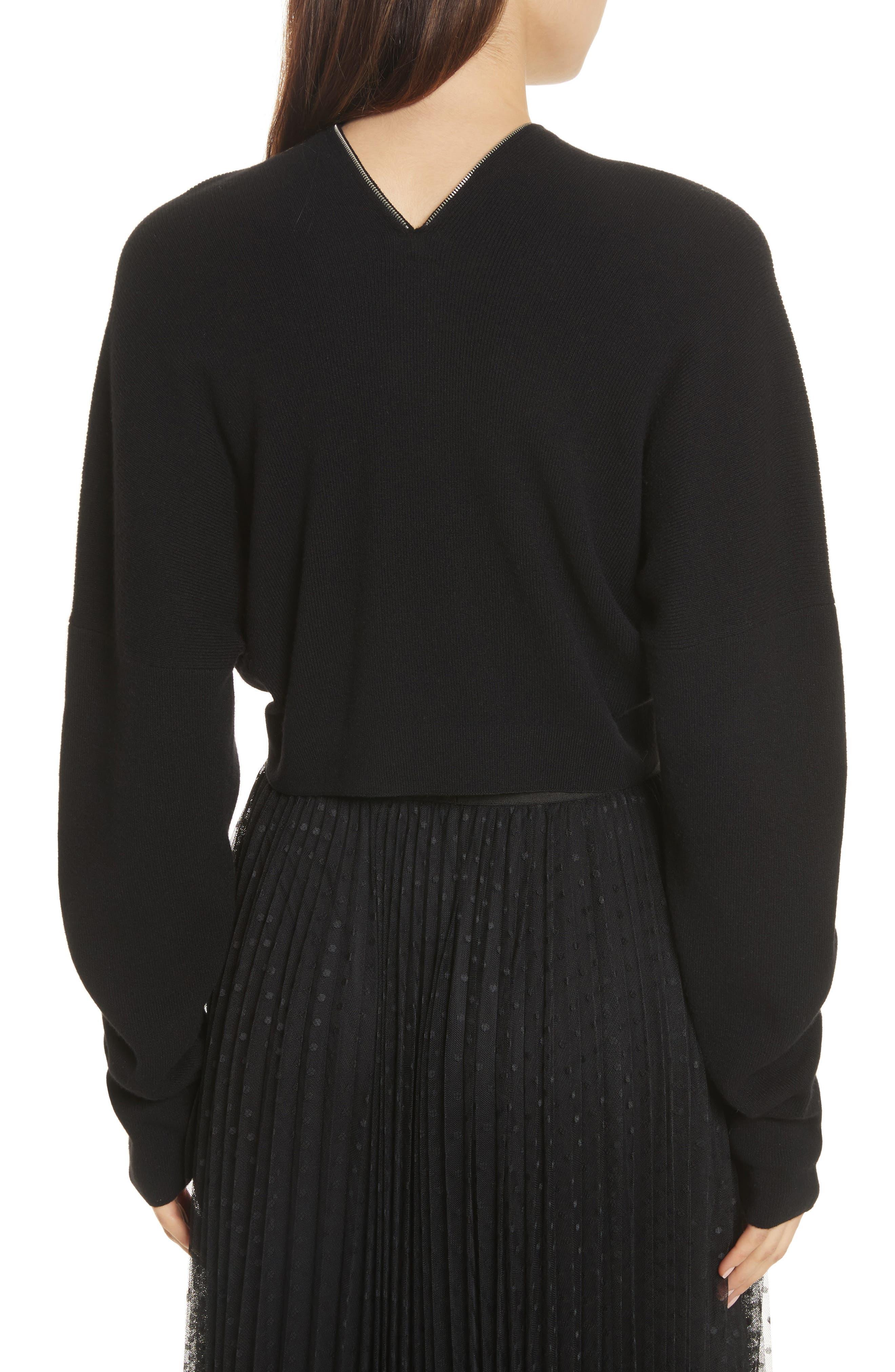 Wool & Cashmere Zip Neck Crop Sweater,                             Alternate thumbnail 2, color,                             001