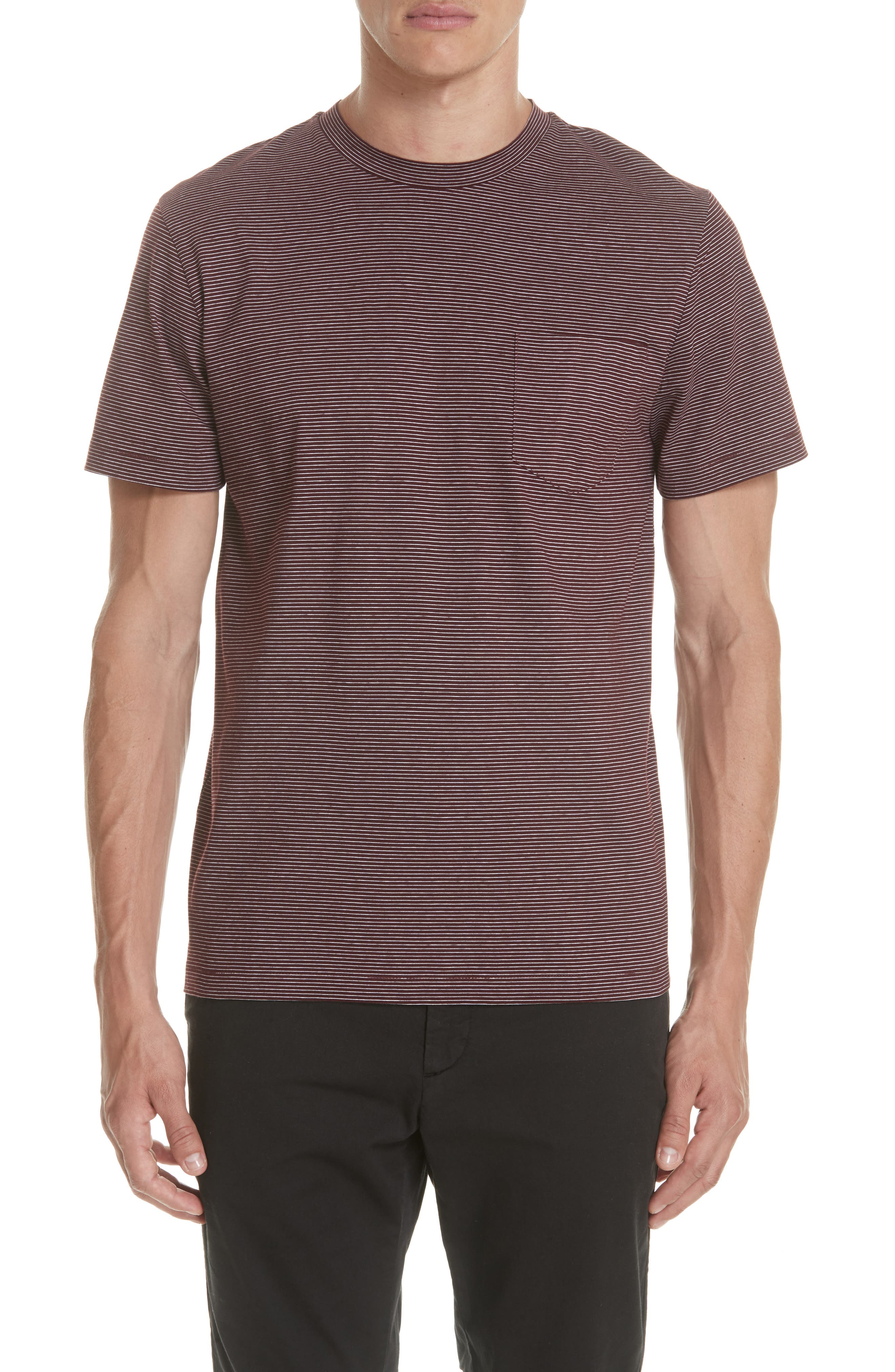 Stripe Pocket T-Shirt,                         Main,                         color, BURGUNDY
