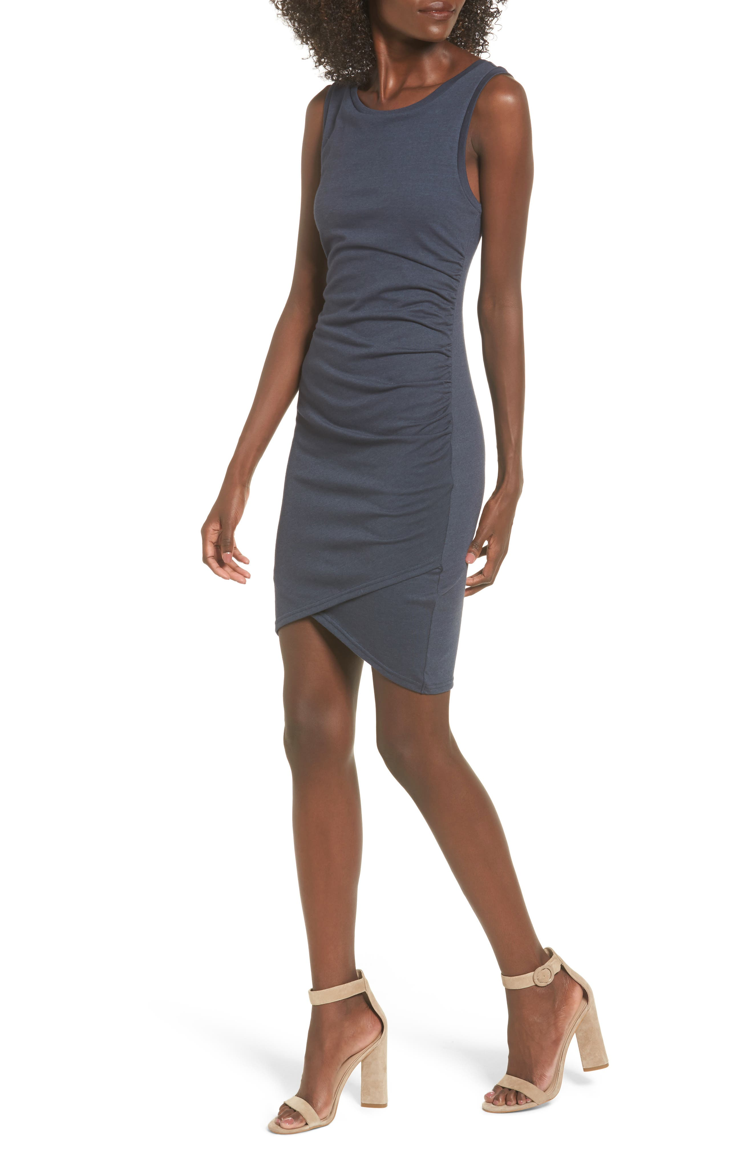 Ruched Body-Con Tank Dress,                         Main,                         color, NAVY INDIA INK
