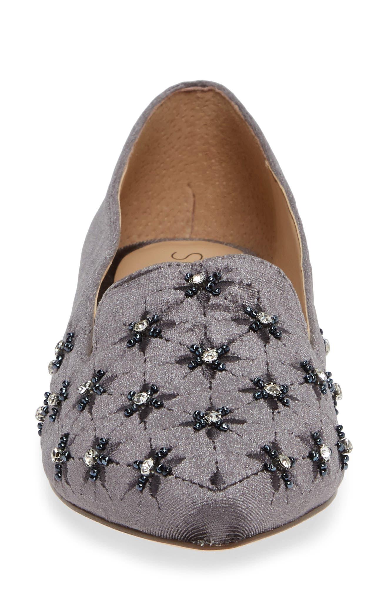 Letticah Crystal Embellished Loafer,                             Alternate thumbnail 4, color,                             SILVER ASH VELVET