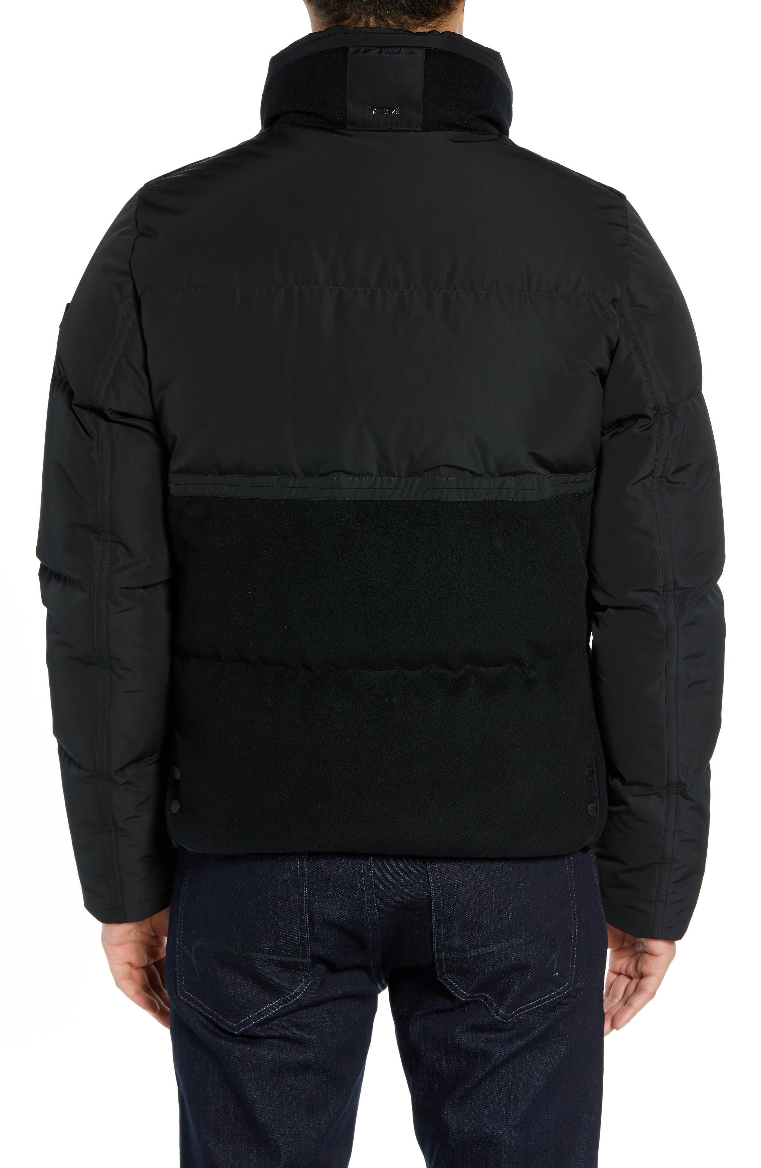 Wool Puffer Jacket,                             Alternate thumbnail 2, color,                             BLACK