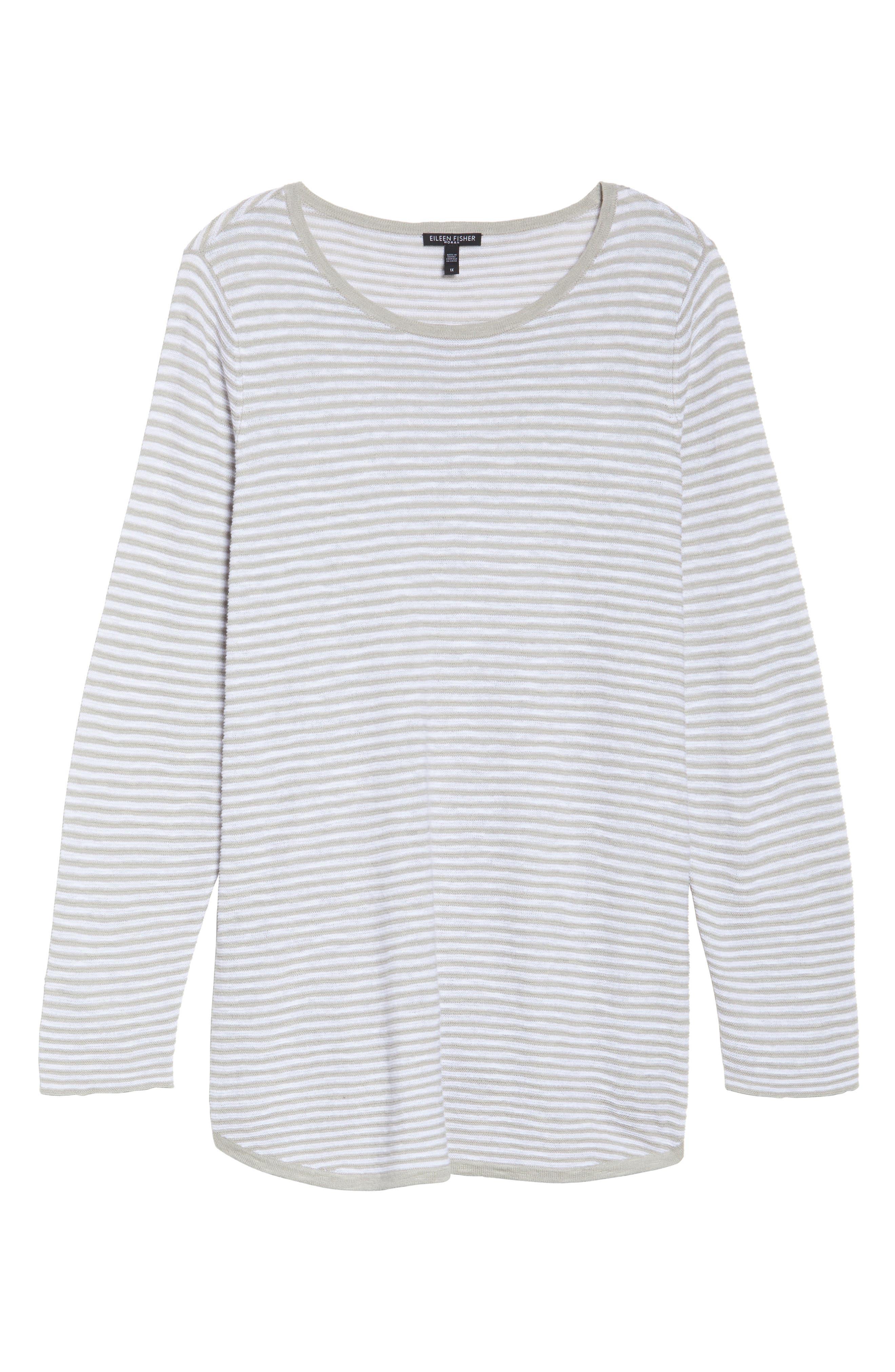 Stripe Organic Linen & Cotton Sweater,                             Alternate thumbnail 11, color,