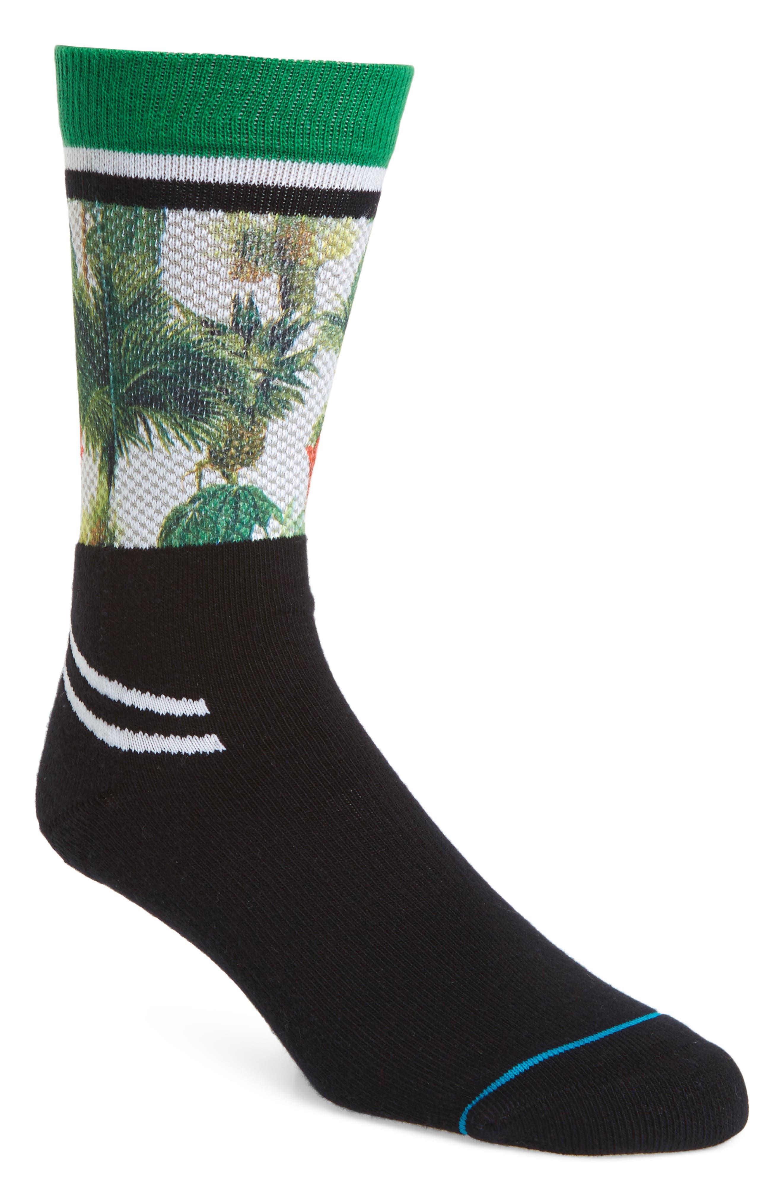 Bring the Heath Crew Socks,                         Main,                         color, BLACK
