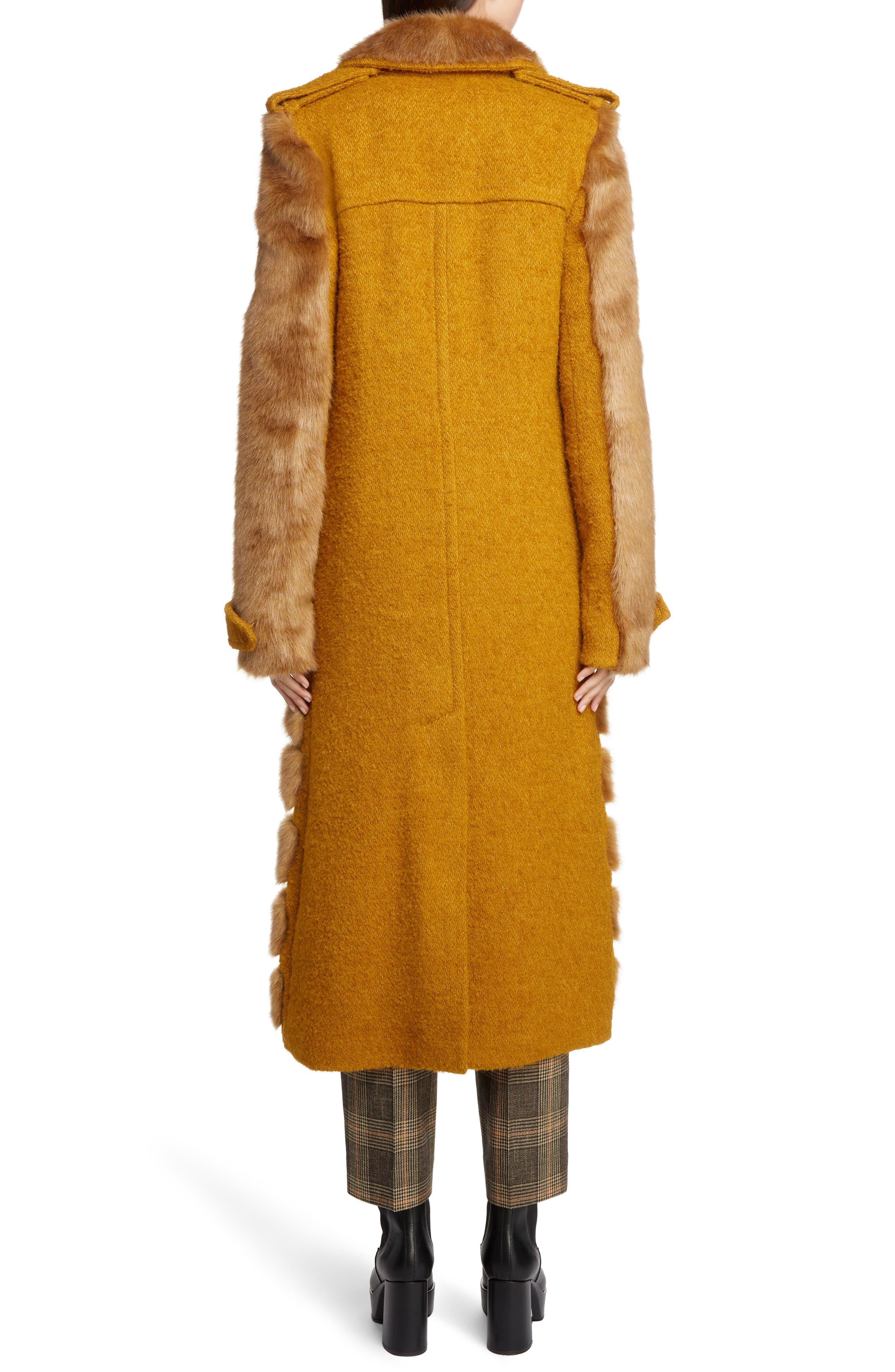 Faux Fur Trim Coat,                             Alternate thumbnail 2, color,                             SAFFRON ORANGE