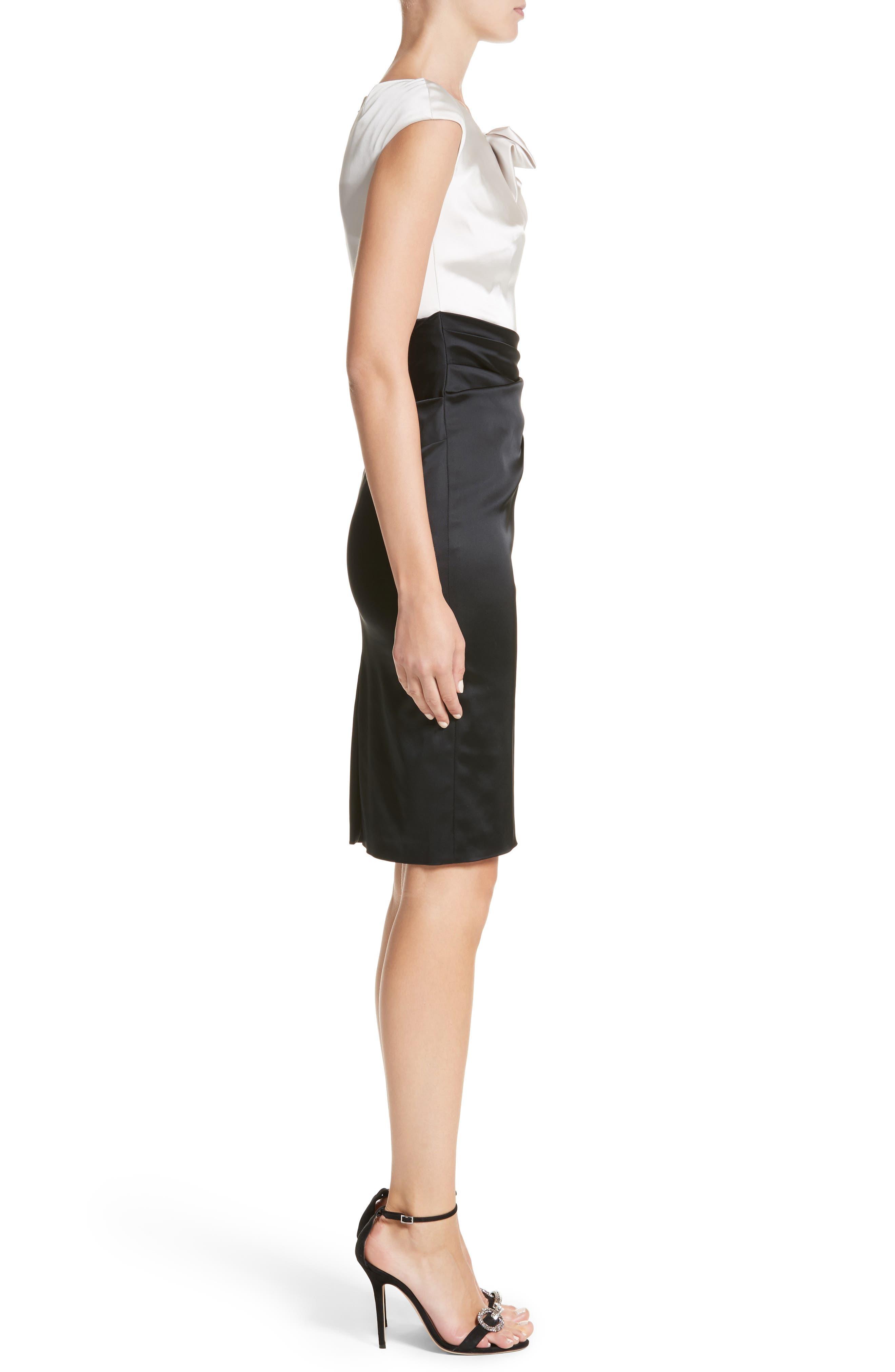 Colorblock Satin Duchesse Sheath Dress,                             Alternate thumbnail 3, color,                             ALLABASTER/BLACK
