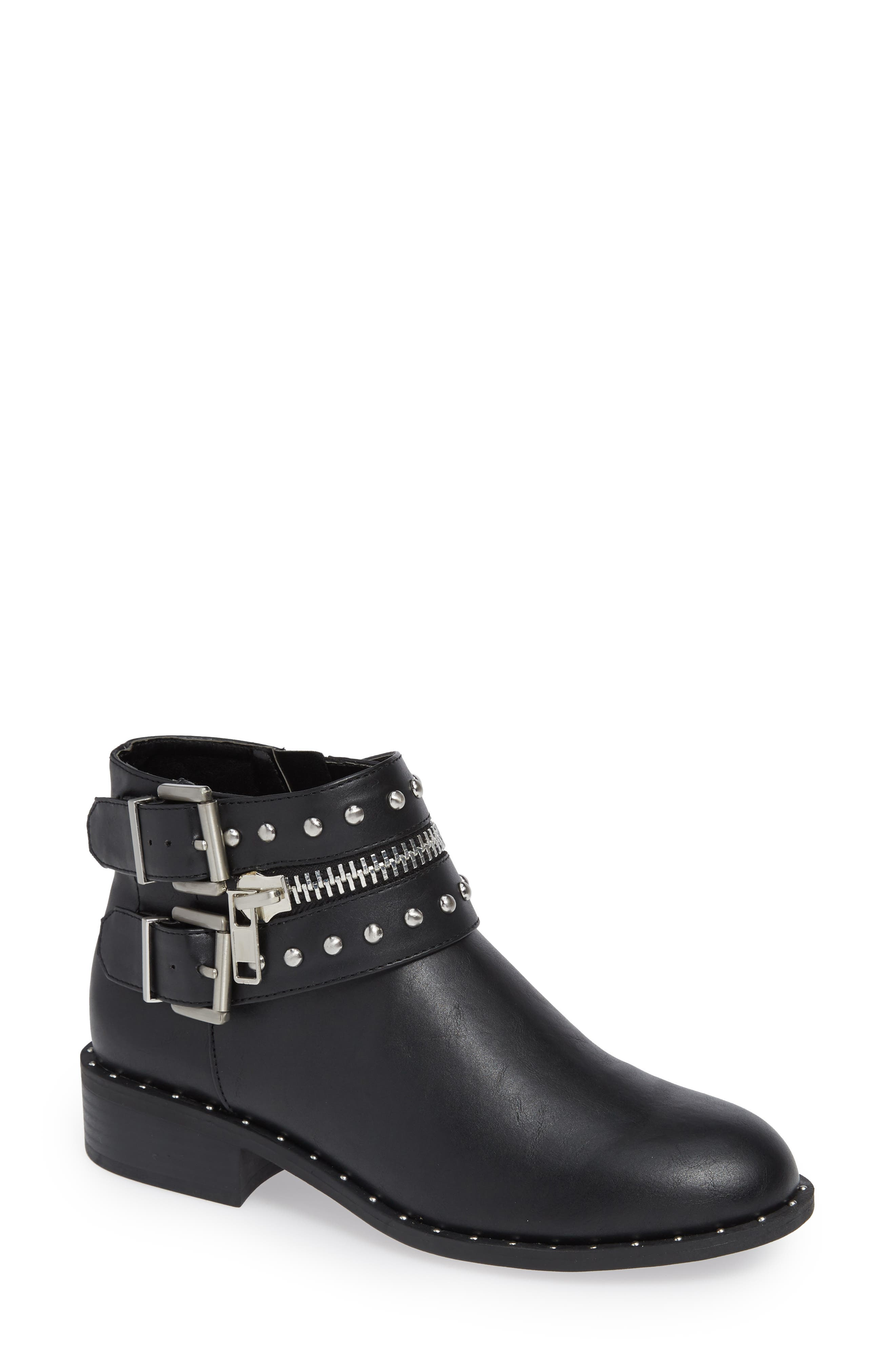 Thief Studded Bootie,                         Main,                         color, BLACK SYNTHETIC