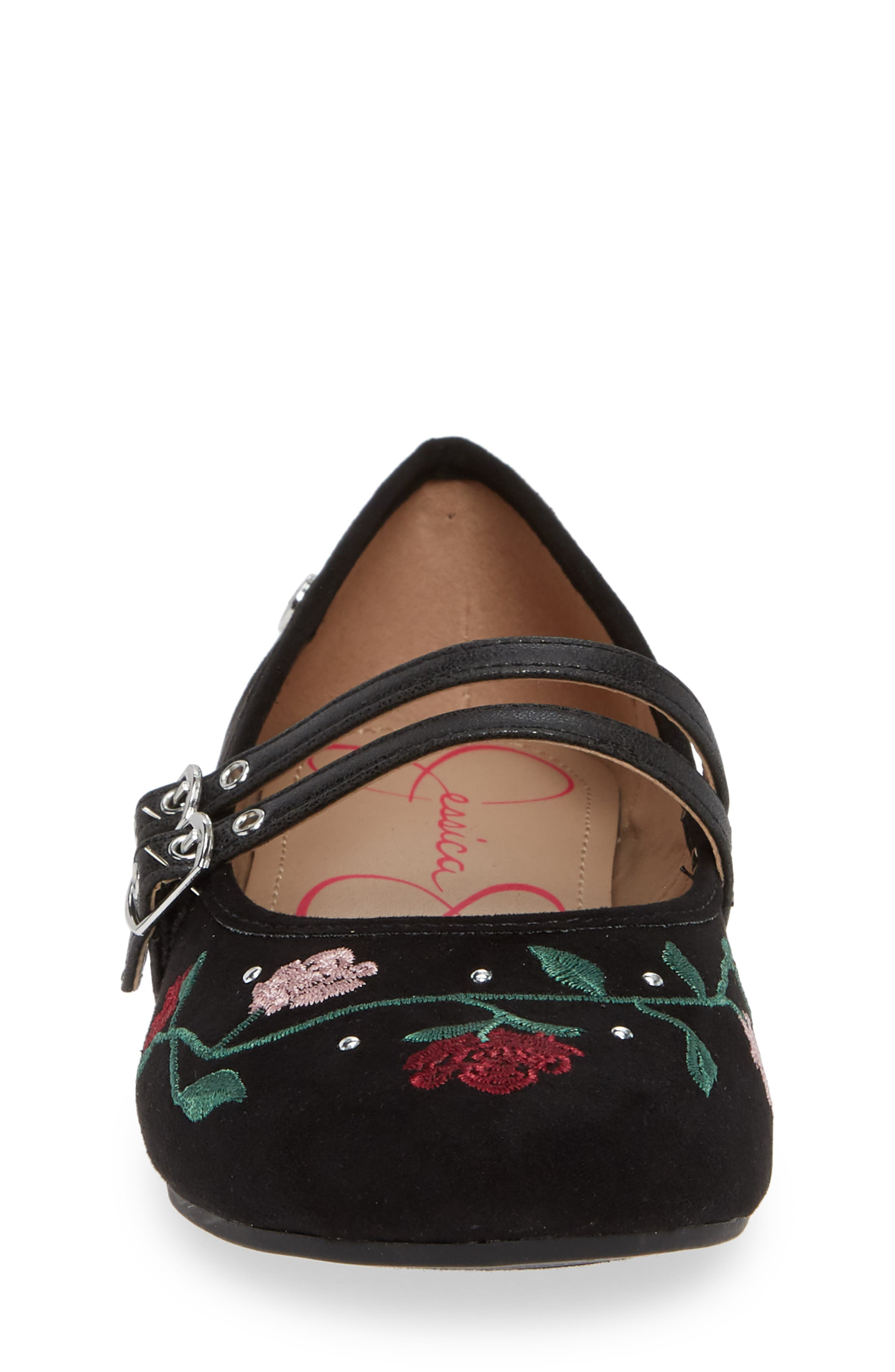 Embroidered Mary Jane Flat,                             Alternate thumbnail 4, color,                             BLACK MICRO SUEDE