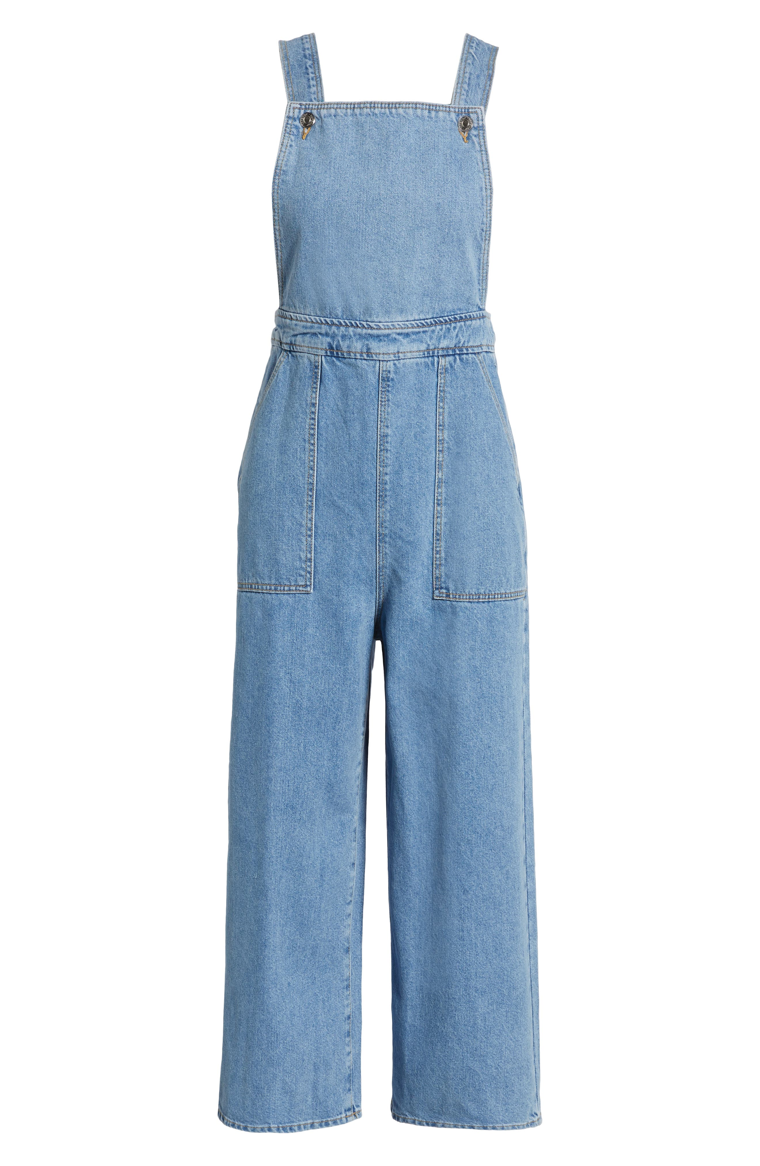 Wide Leg Crop Overalls,                             Alternate thumbnail 7, color,                             MID STONE