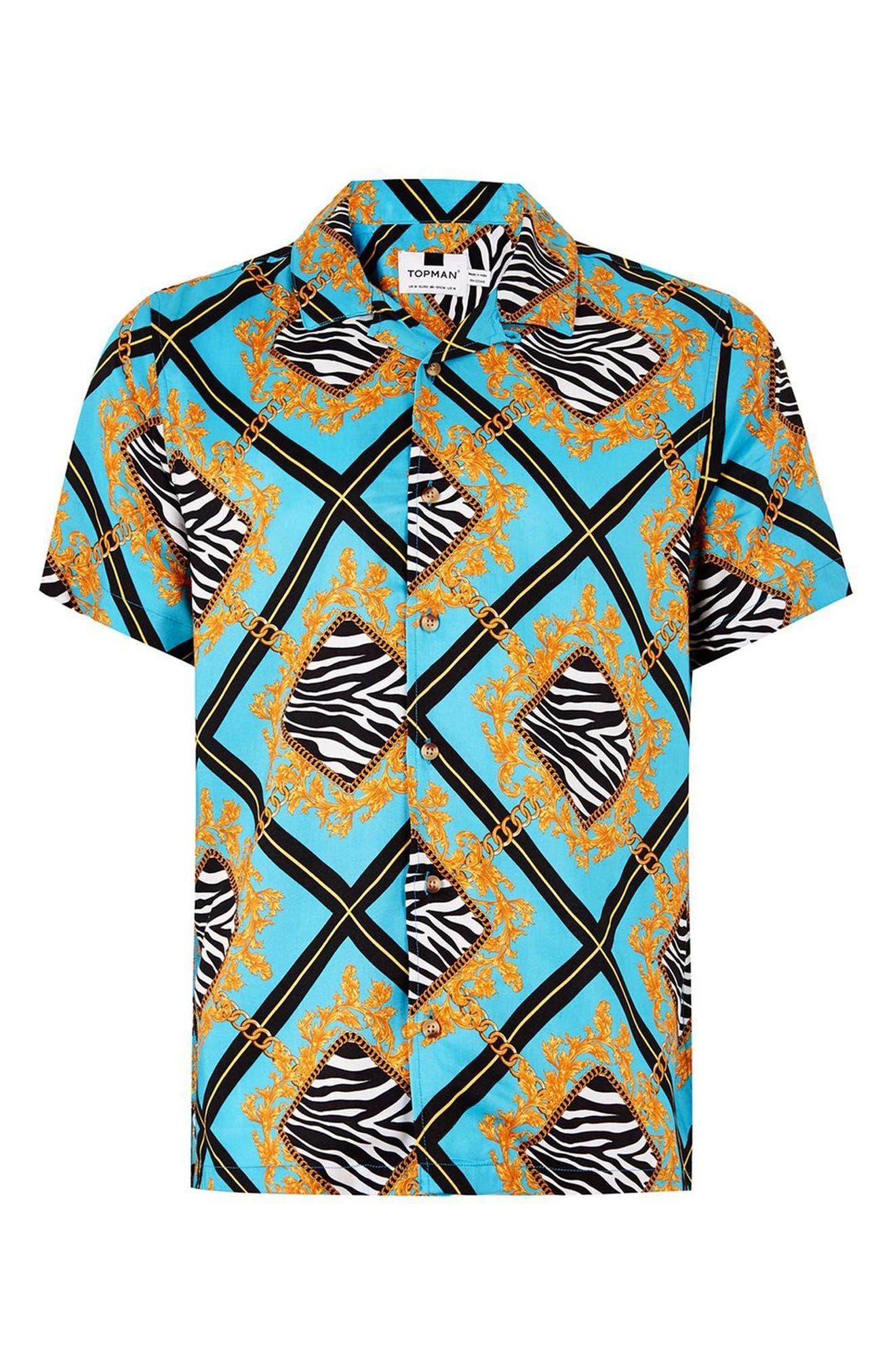 Baroque Zebra Print Shirt,                             Alternate thumbnail 4, color,                             400