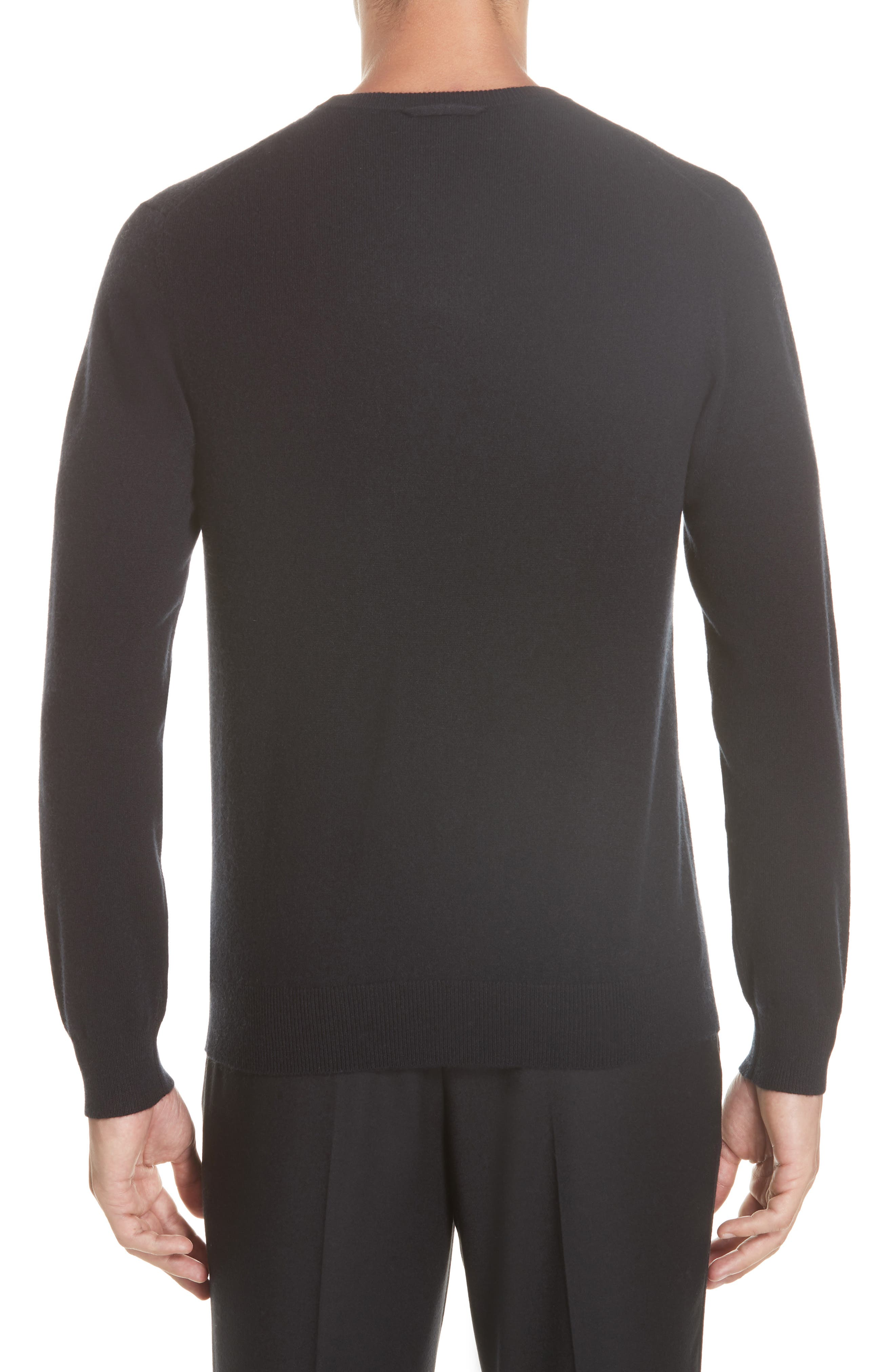 Cashmere Blend Crewneck Sweater,                             Alternate thumbnail 2, color,                             BLACK