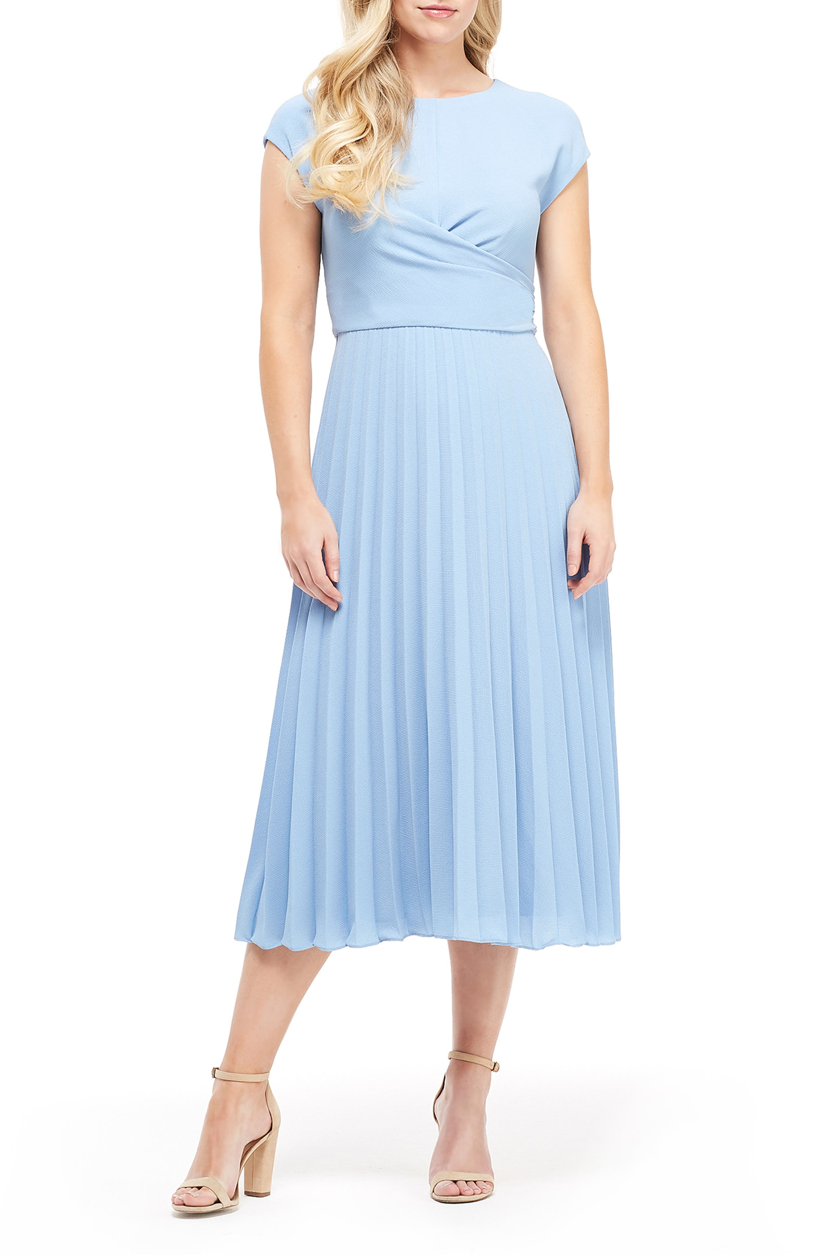 Petite Maggy London Betty Wrap Bodice Pleated Dress, Blue