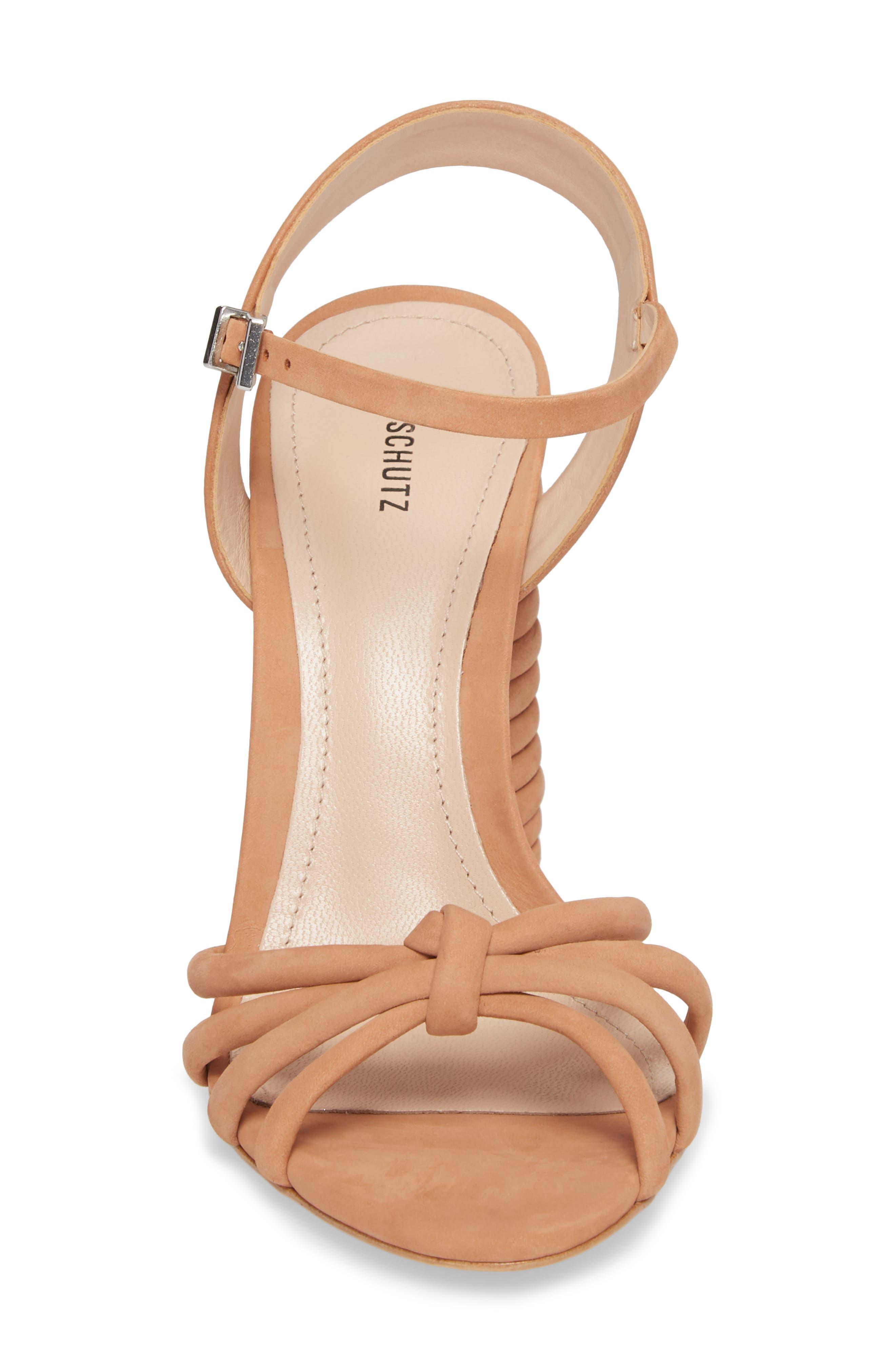 Paolla Column Heel Sandal,                             Alternate thumbnail 4, color,                             TOASTED NUT