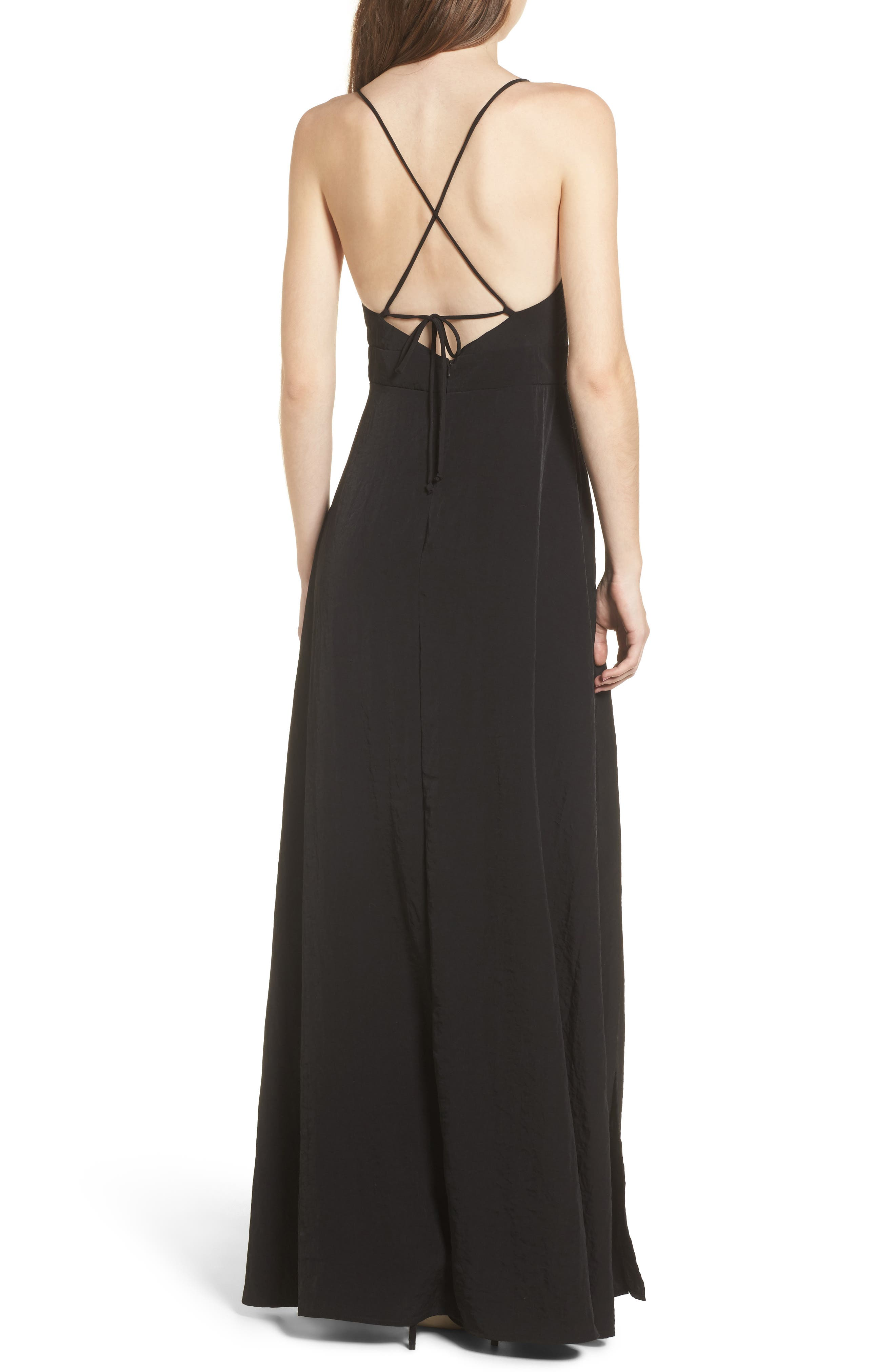 Cowl Neck Maxi Dress,                             Alternate thumbnail 2, color,                             001