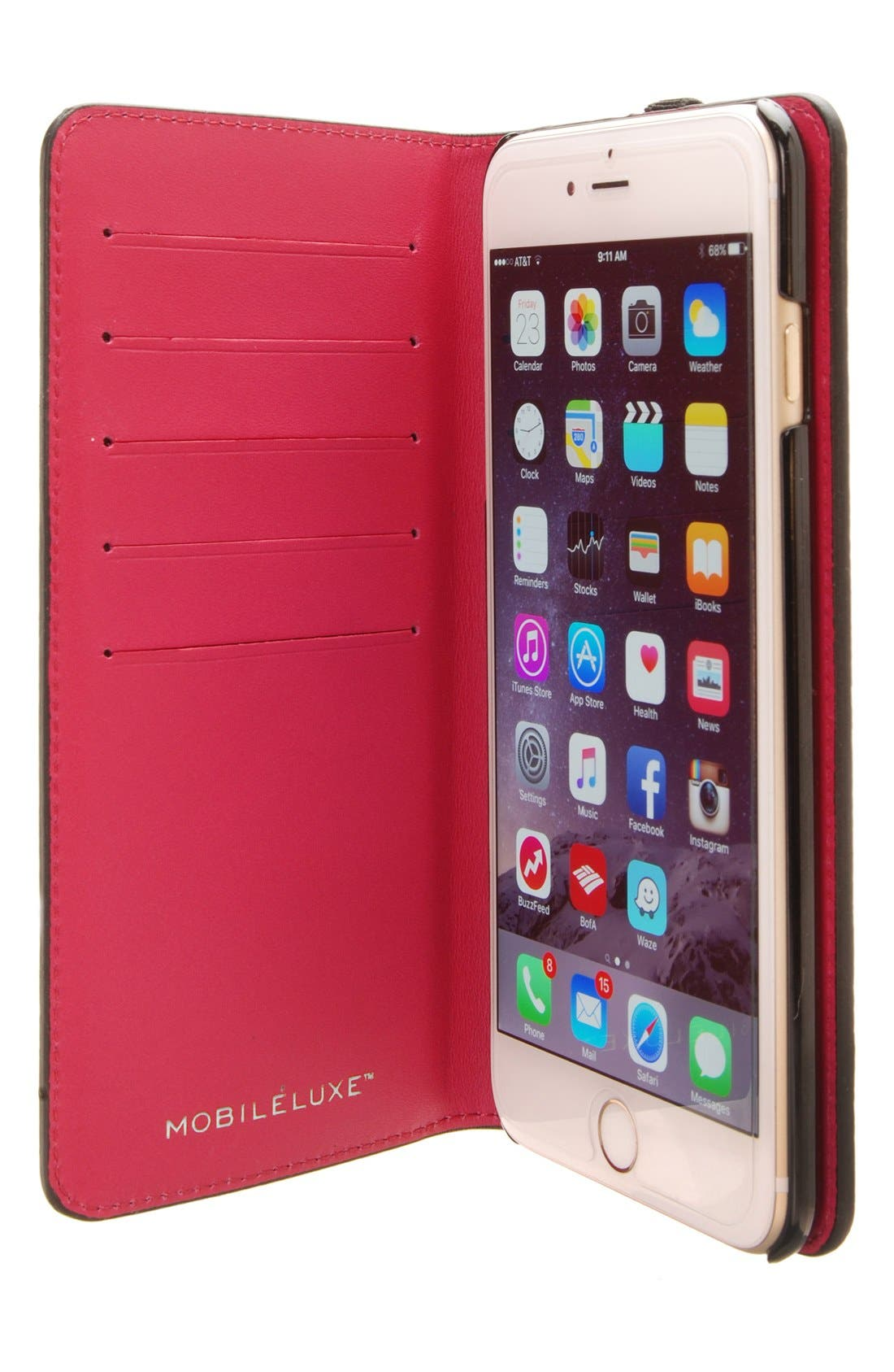 iPhone 6 Plus/6s Plus Metallic Leather Wallet Case,                             Alternate thumbnail 3, color,                             040