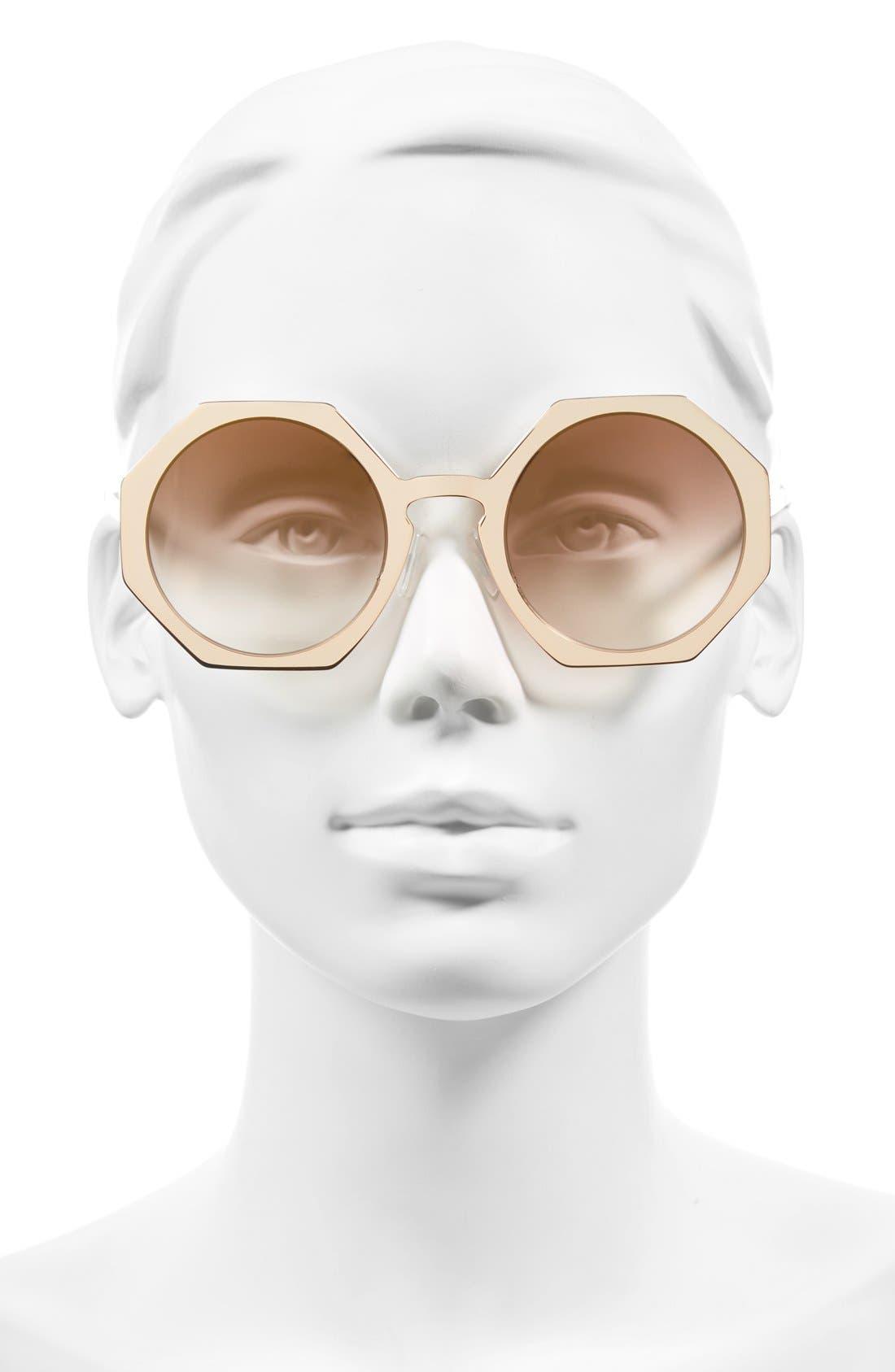 51mm Retro Octagon Sunglasses,                             Alternate thumbnail 6, color,