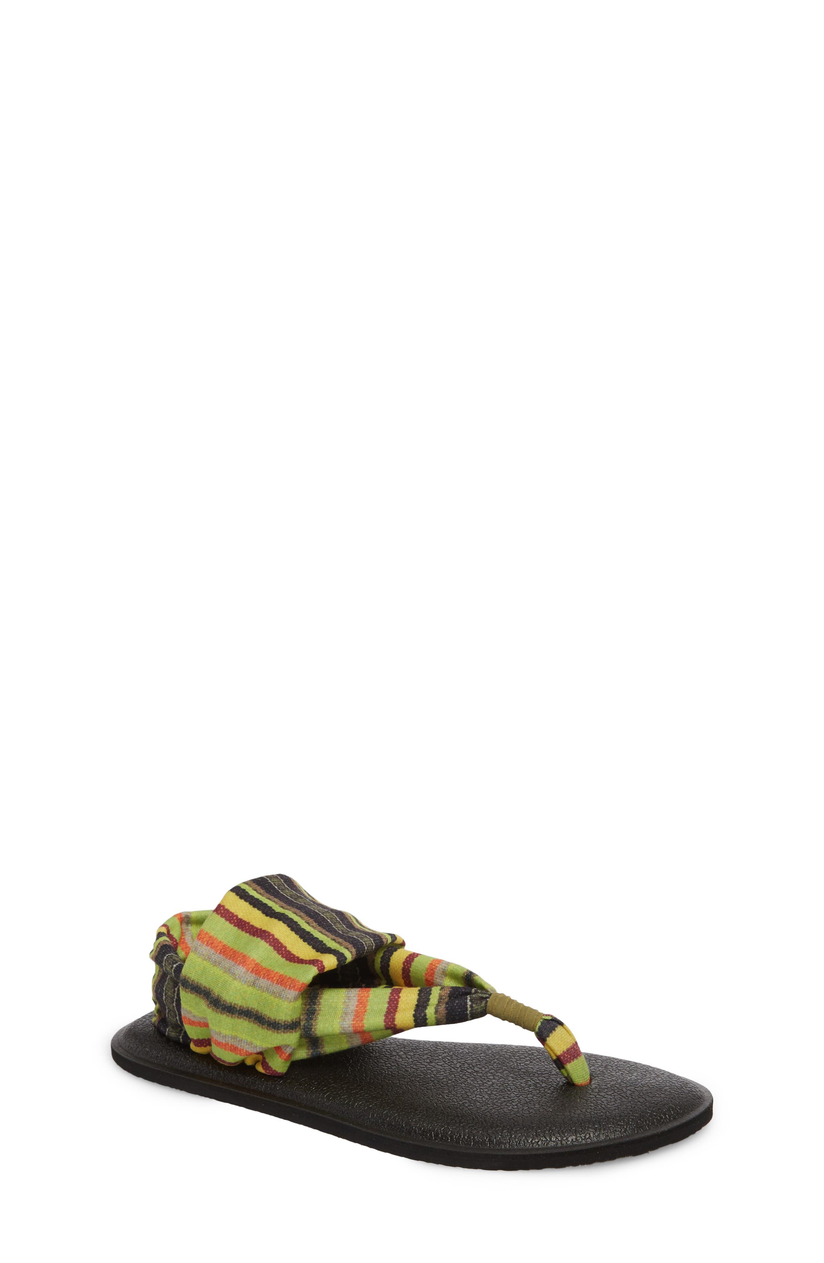 Yoga Sling Burst Sandal,                         Main,                         color, GREEN KAUAI BLANKET