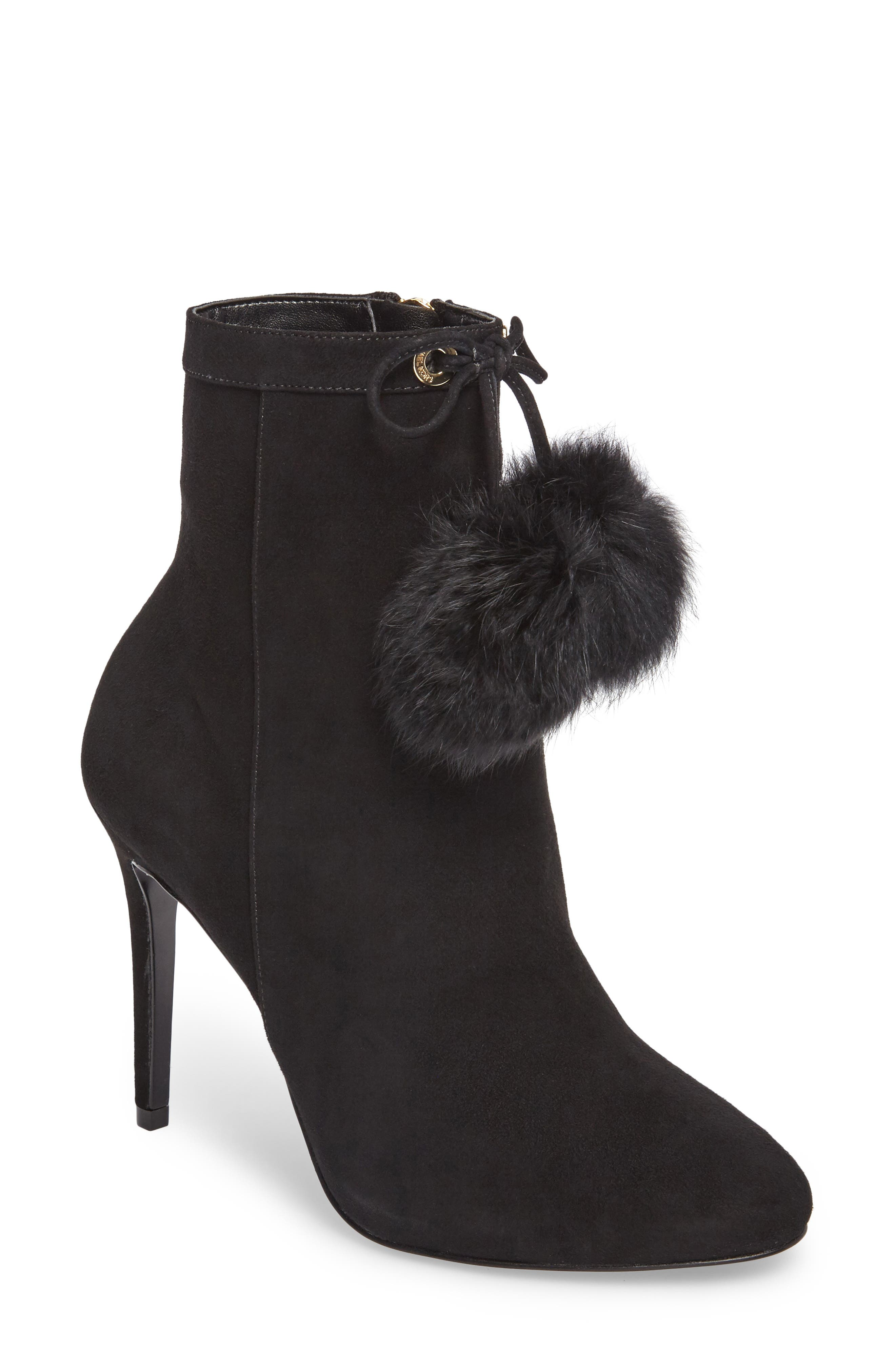 Remi Bootie with Genuine Rabbit Fur Pom,                             Main thumbnail 1, color,                             002