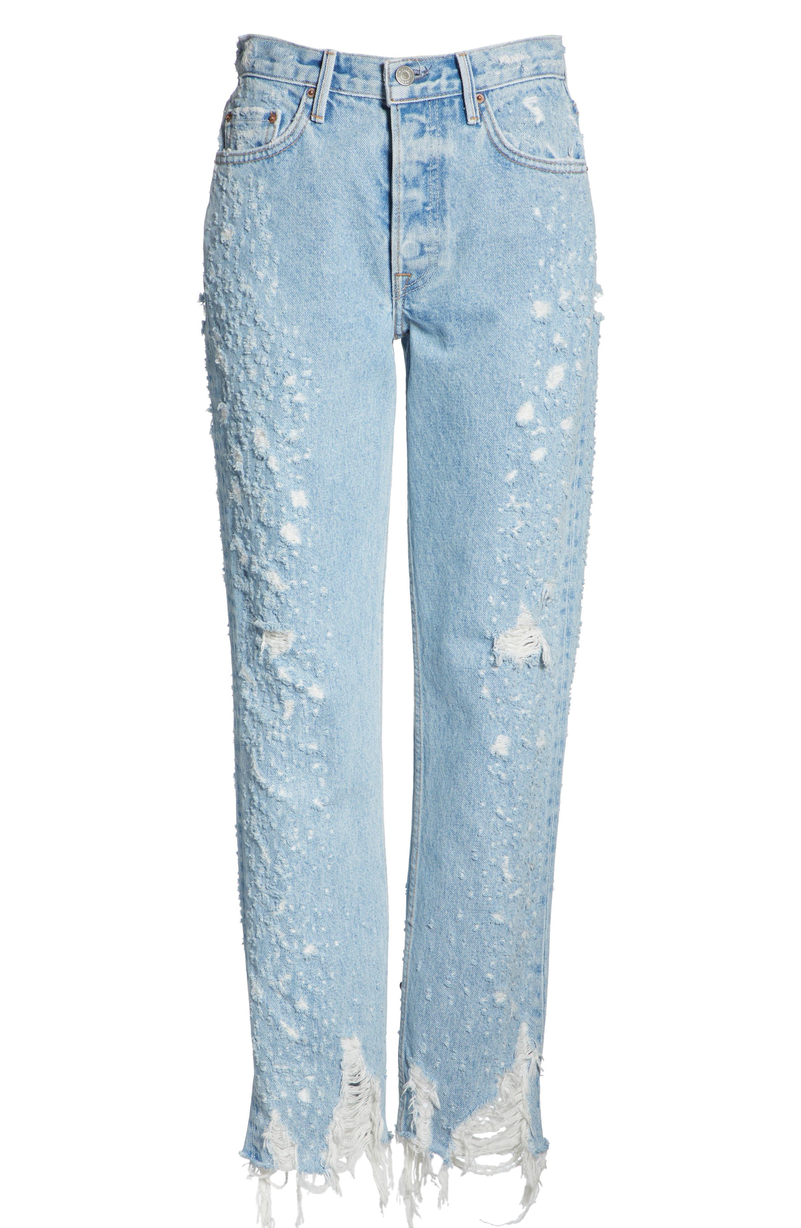 Helena Rigid High Waist Straight Jeans,                             Alternate thumbnail 7, color,                             BURN OUT