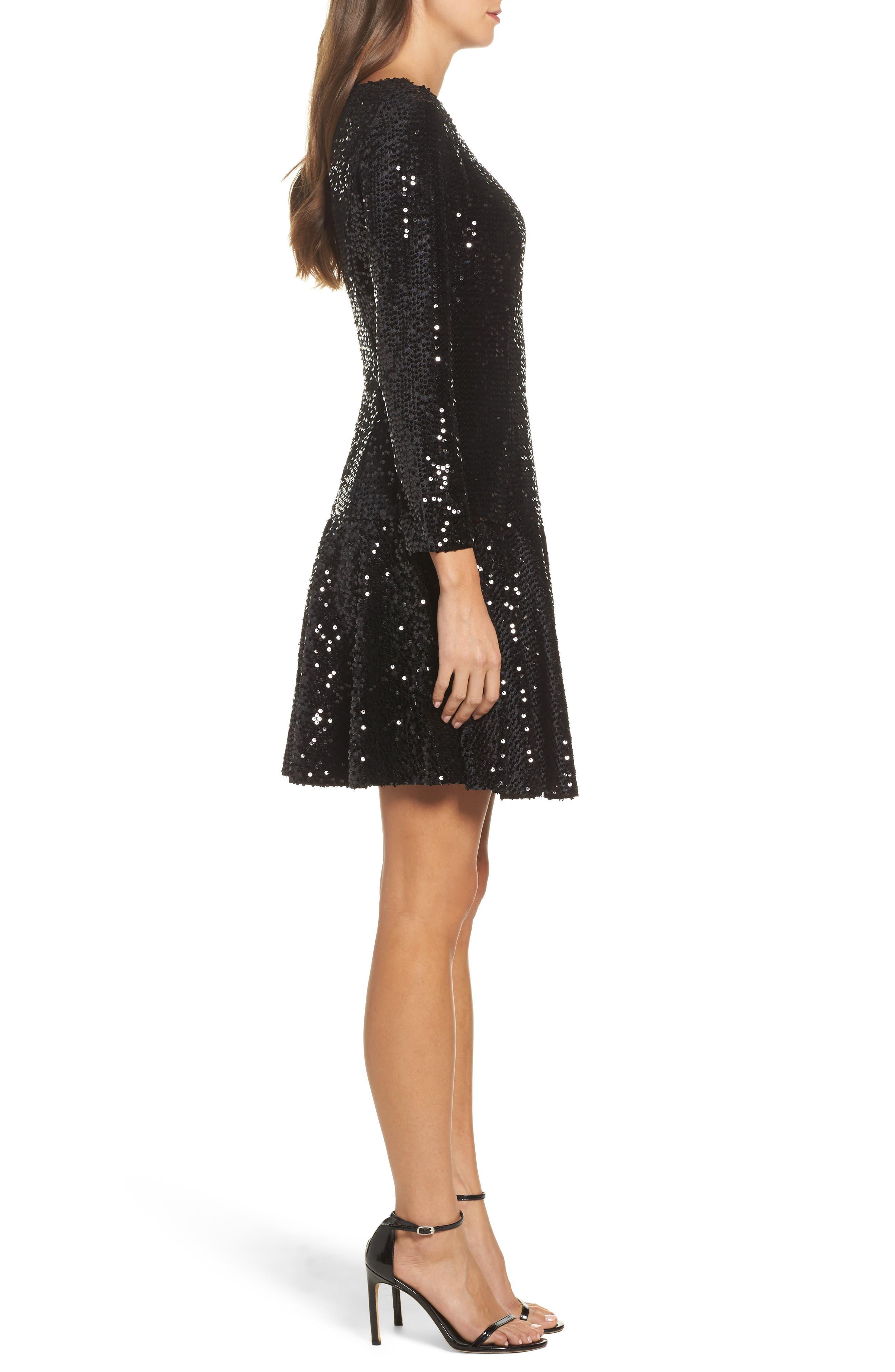 Sequin Fit & Flare Dress,                             Alternate thumbnail 3, color,                             001