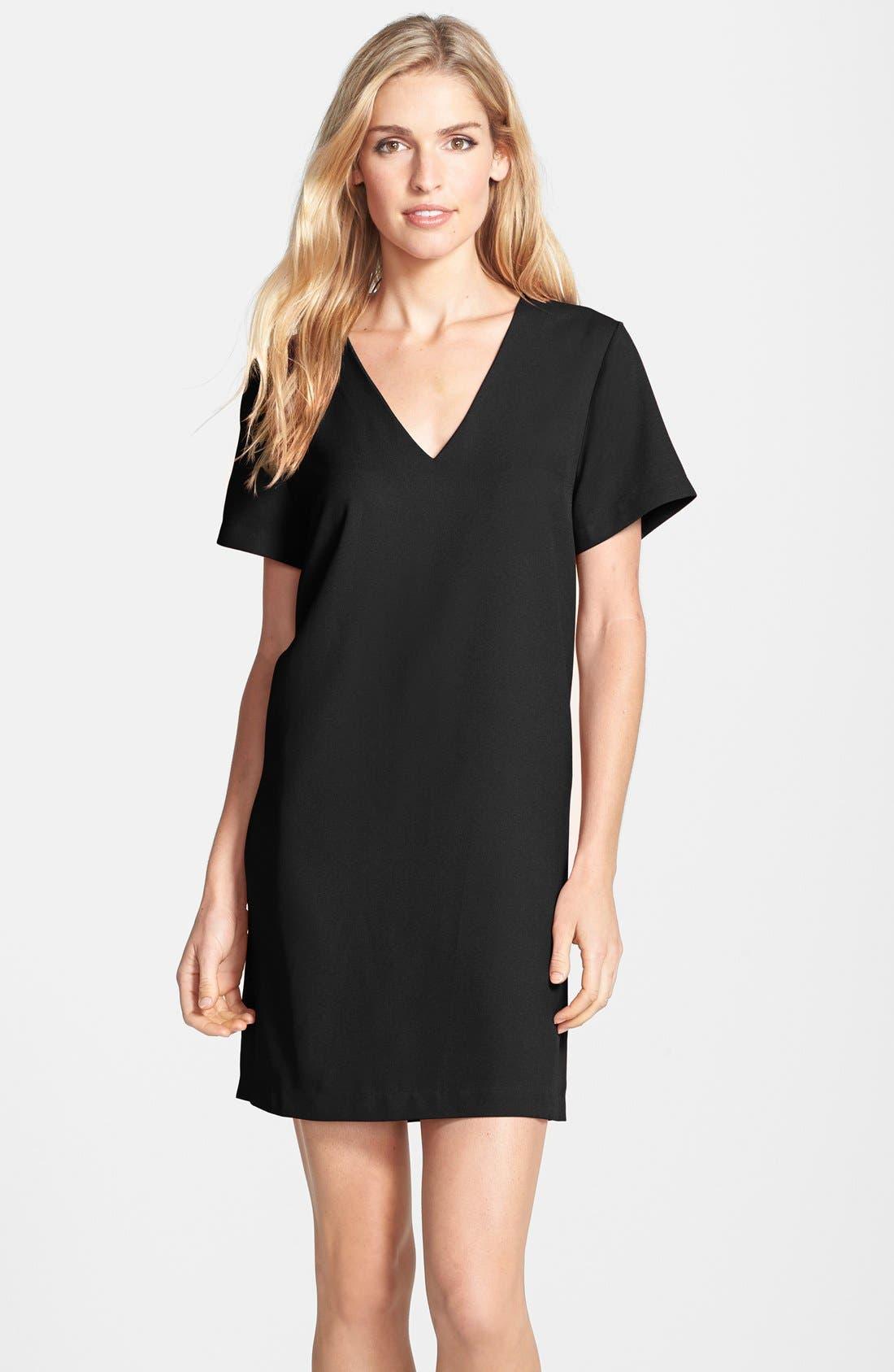 Crepe Shift Dress,                         Main,                         color, 001