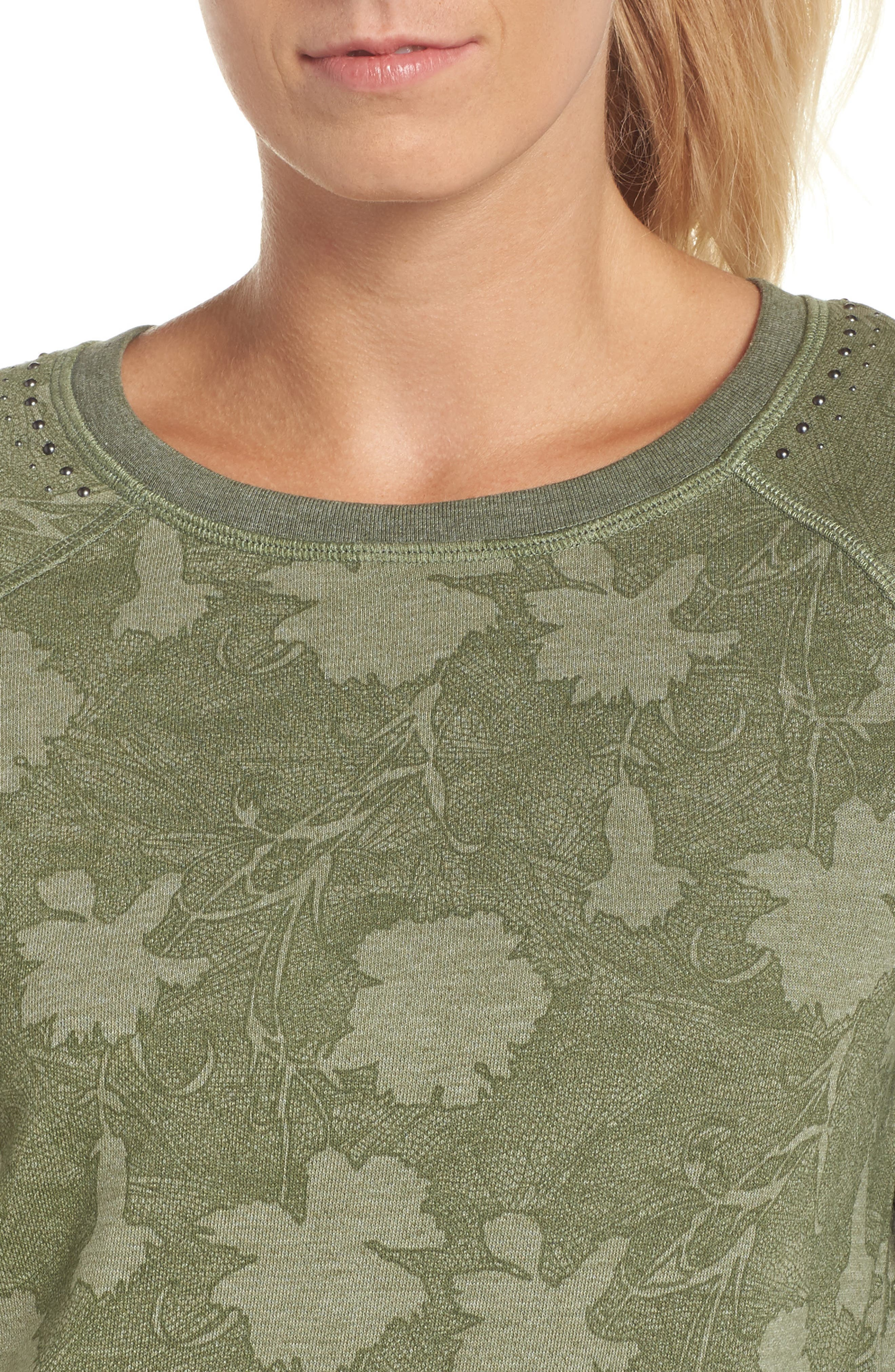 Sleek Leaf Kale Sweatshirt,                             Alternate thumbnail 4, color,                             GREEN