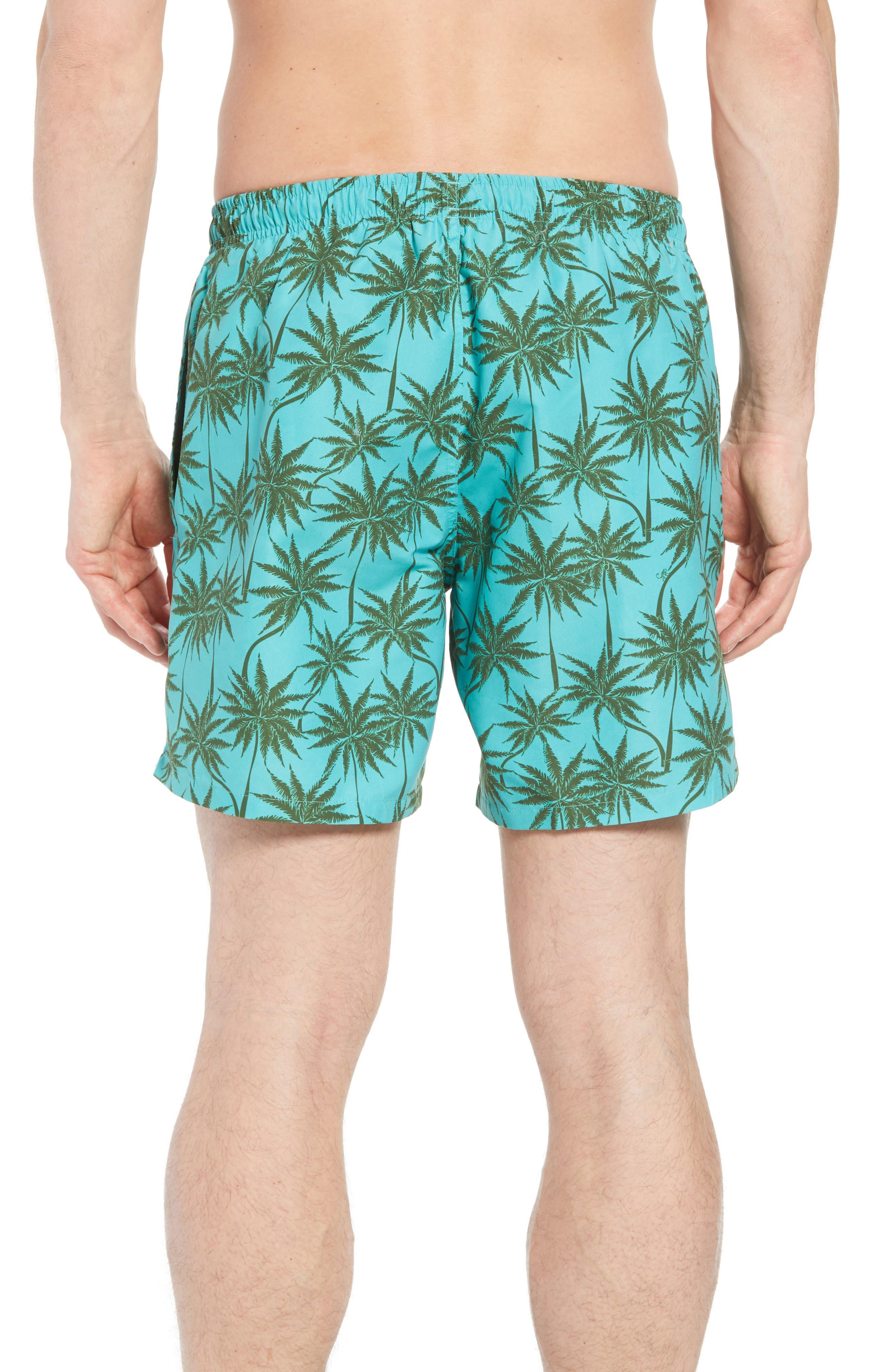 Piranha Palm Tree Swim Trunks,                             Alternate thumbnail 2, color,                             483