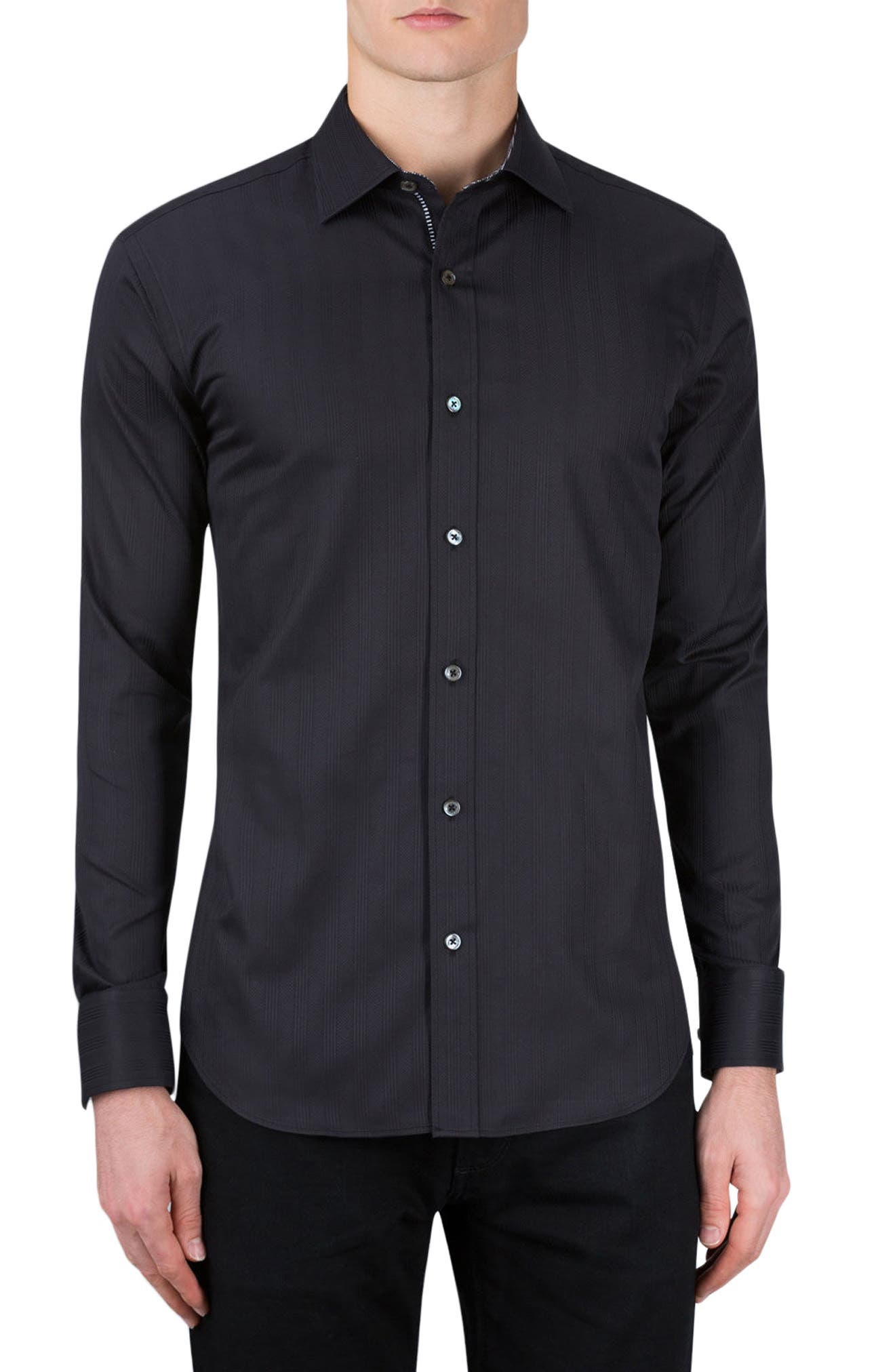 Classic Fit Stripe Jacquard Sport Shirt,                         Main,                         color, 001