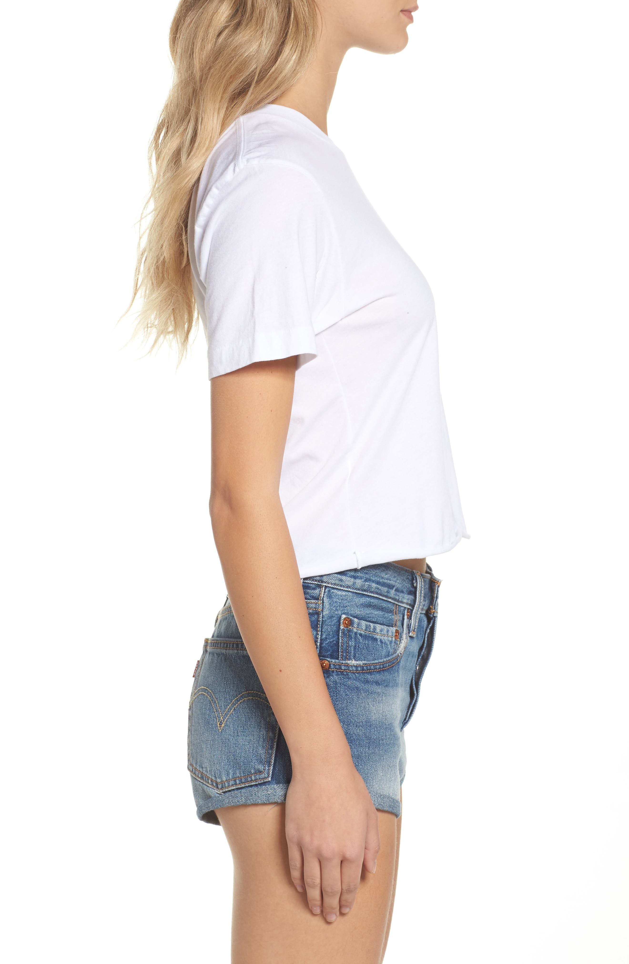Bolt Crop Tee,                             Alternate thumbnail 3, color,                             WHITE