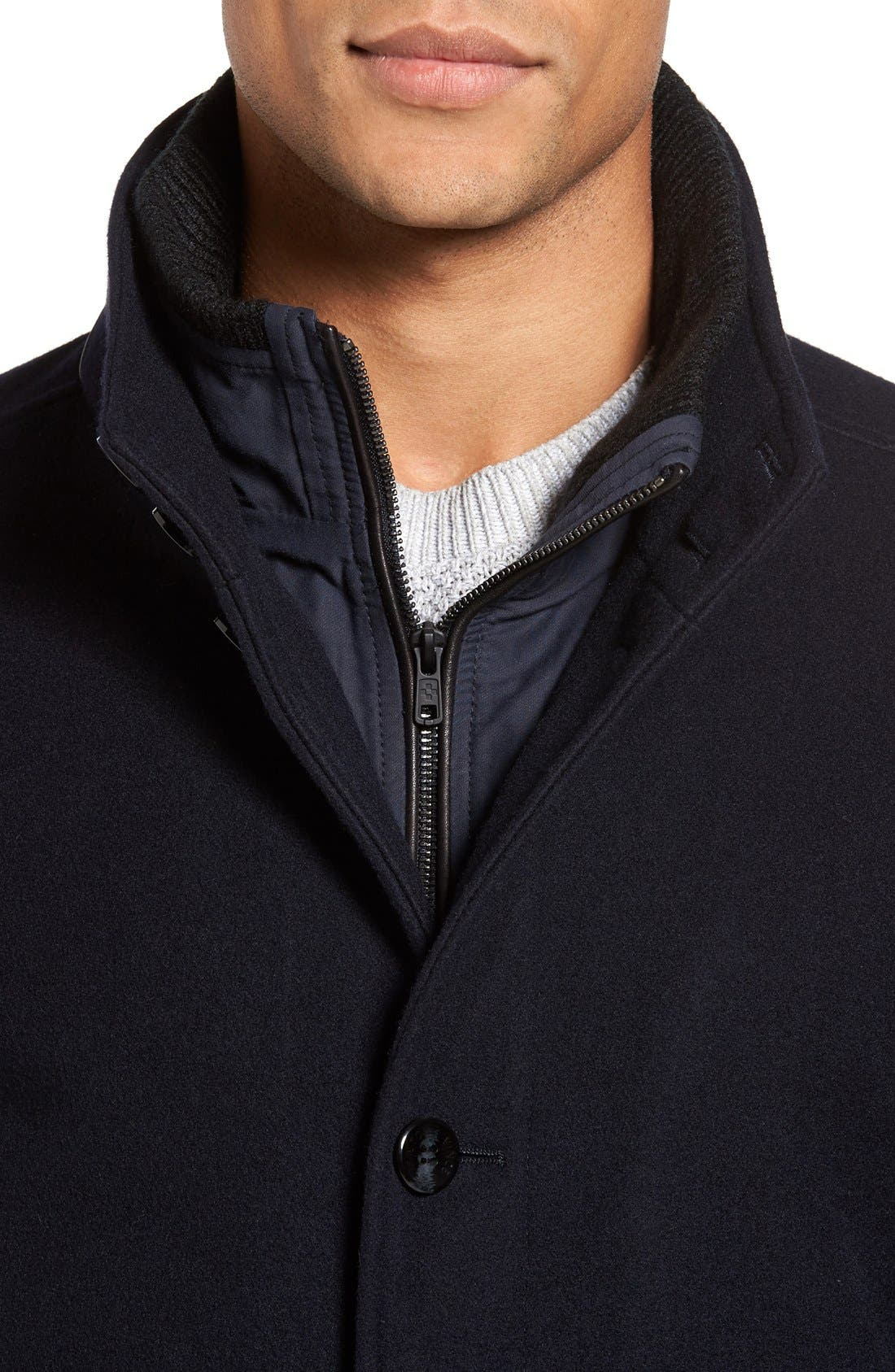 VINCE CAMUTO,                             Classic Wool Blend Car Coat with Inset Bib,                             Alternate thumbnail 5, color,                             NAVY