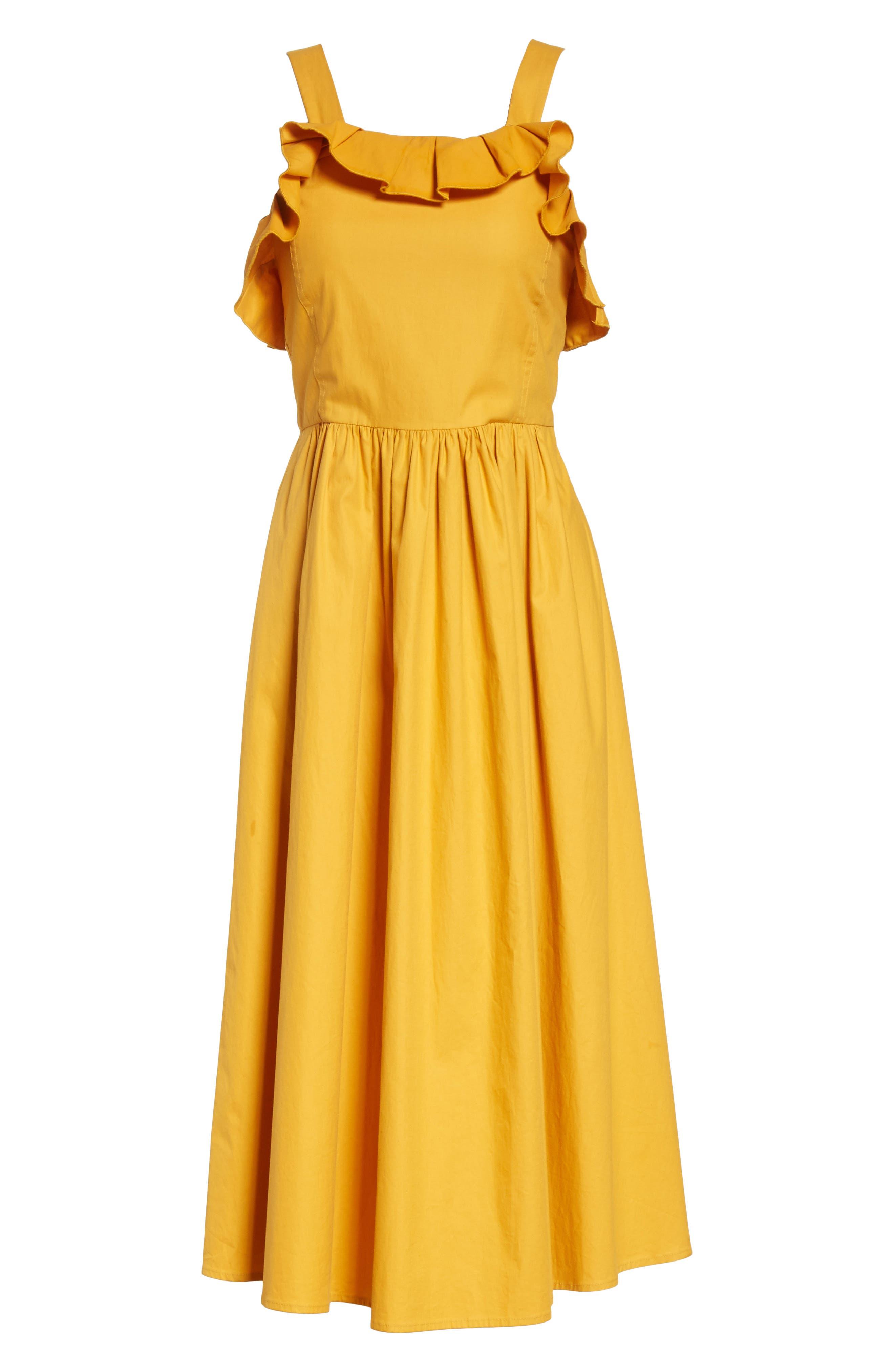 Sunrise Ruffle Midi Dress,                             Alternate thumbnail 6, color,                             800