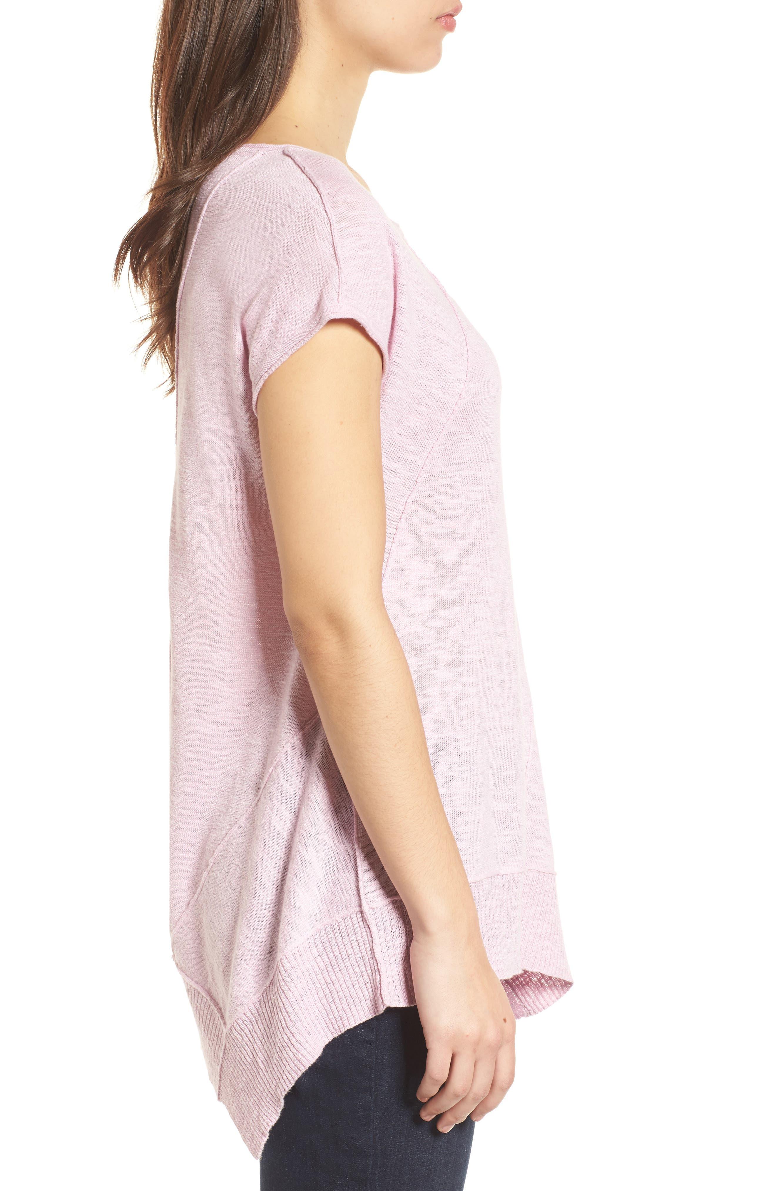 Cap Sleeve Organic Linen & Cotton Scoop Neck Top,                             Alternate thumbnail 44, color,