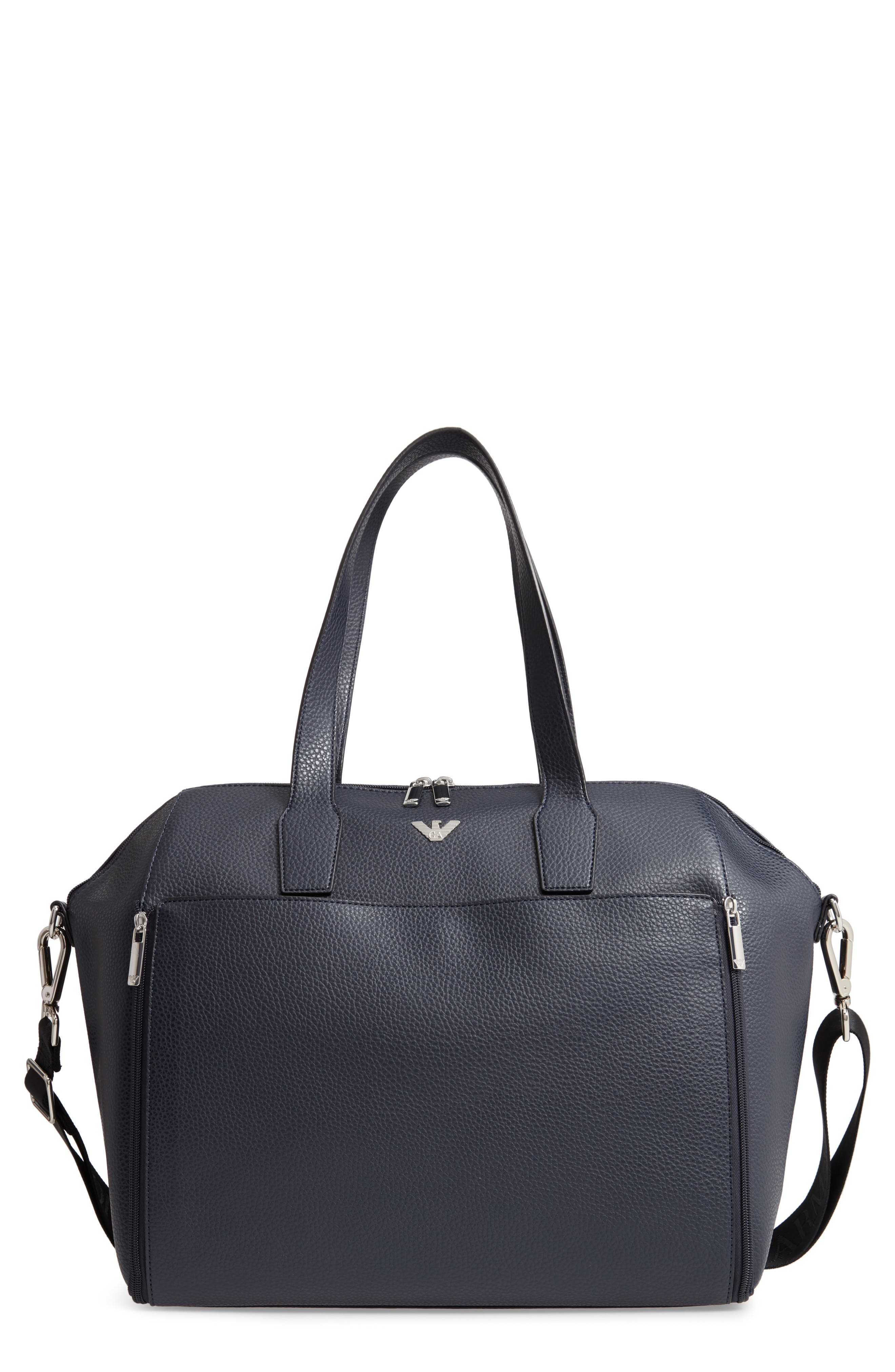 Faux Leather Diaper Bag,                             Main thumbnail 1, color,                             SOLID BLUE NAVY