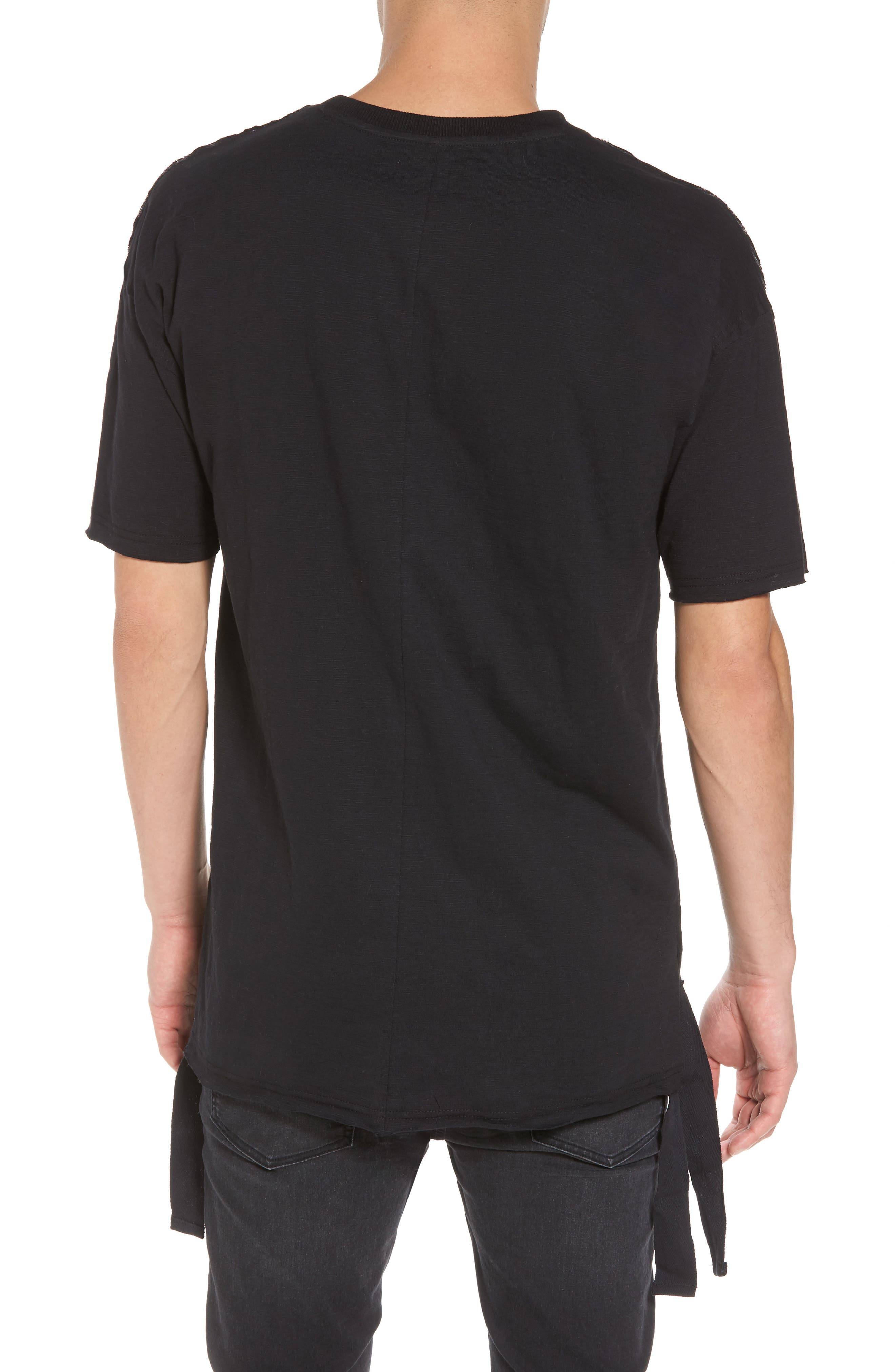 Raw Edge Strapped T-Shirt,                             Alternate thumbnail 2, color,                             001