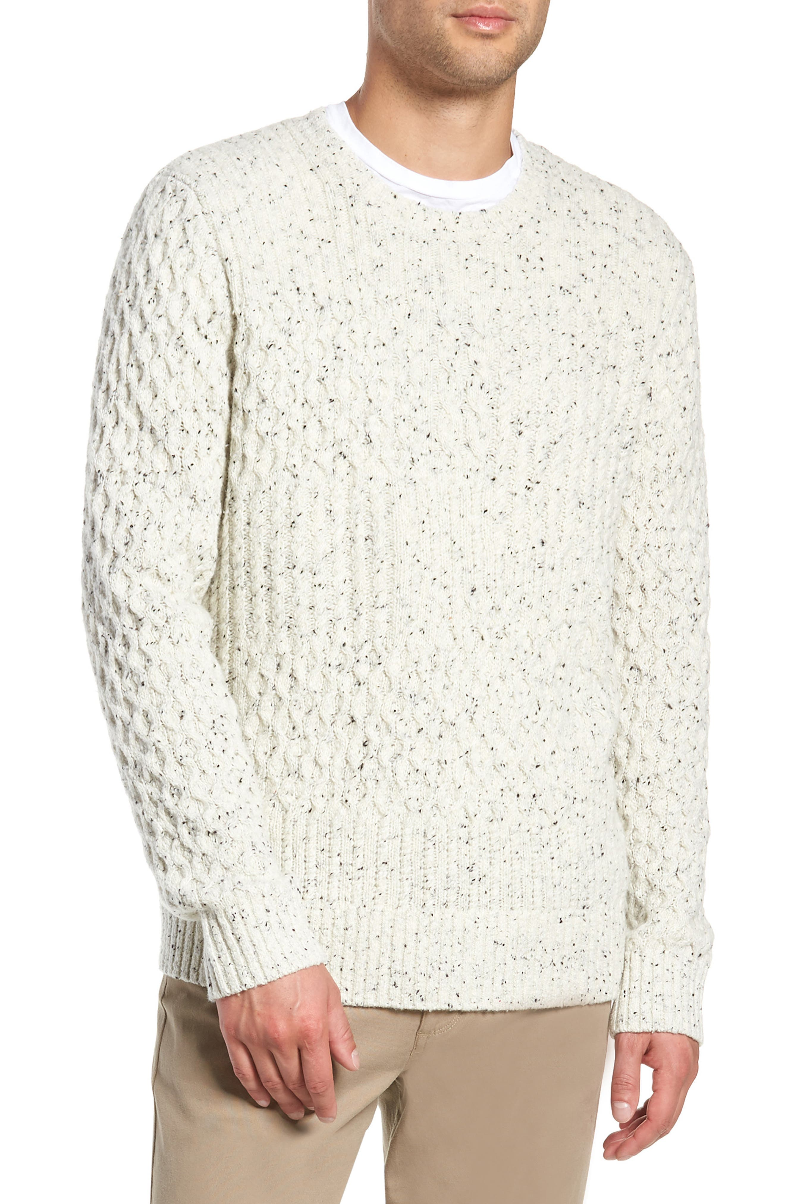 VINCE,                             Cable Knit Sweater,                             Main thumbnail 1, color,                             H WHITE