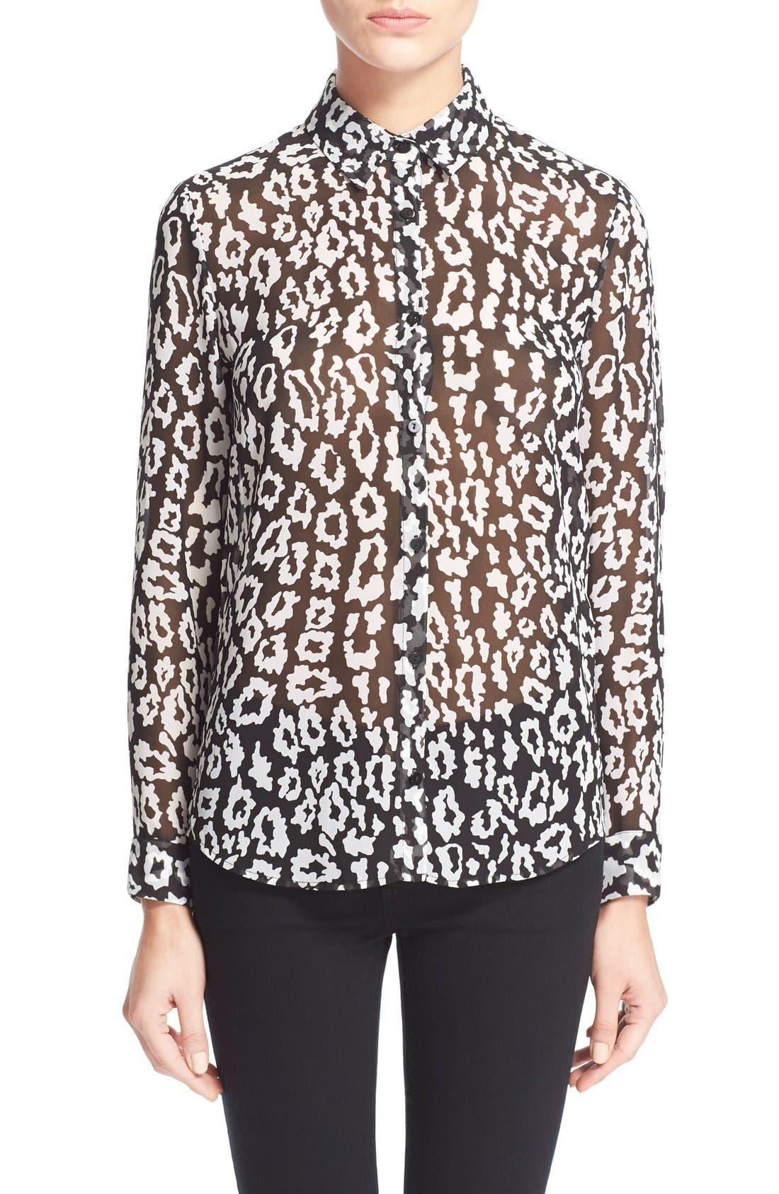 Leopard Print ChiffonShirt, Main, color, 005