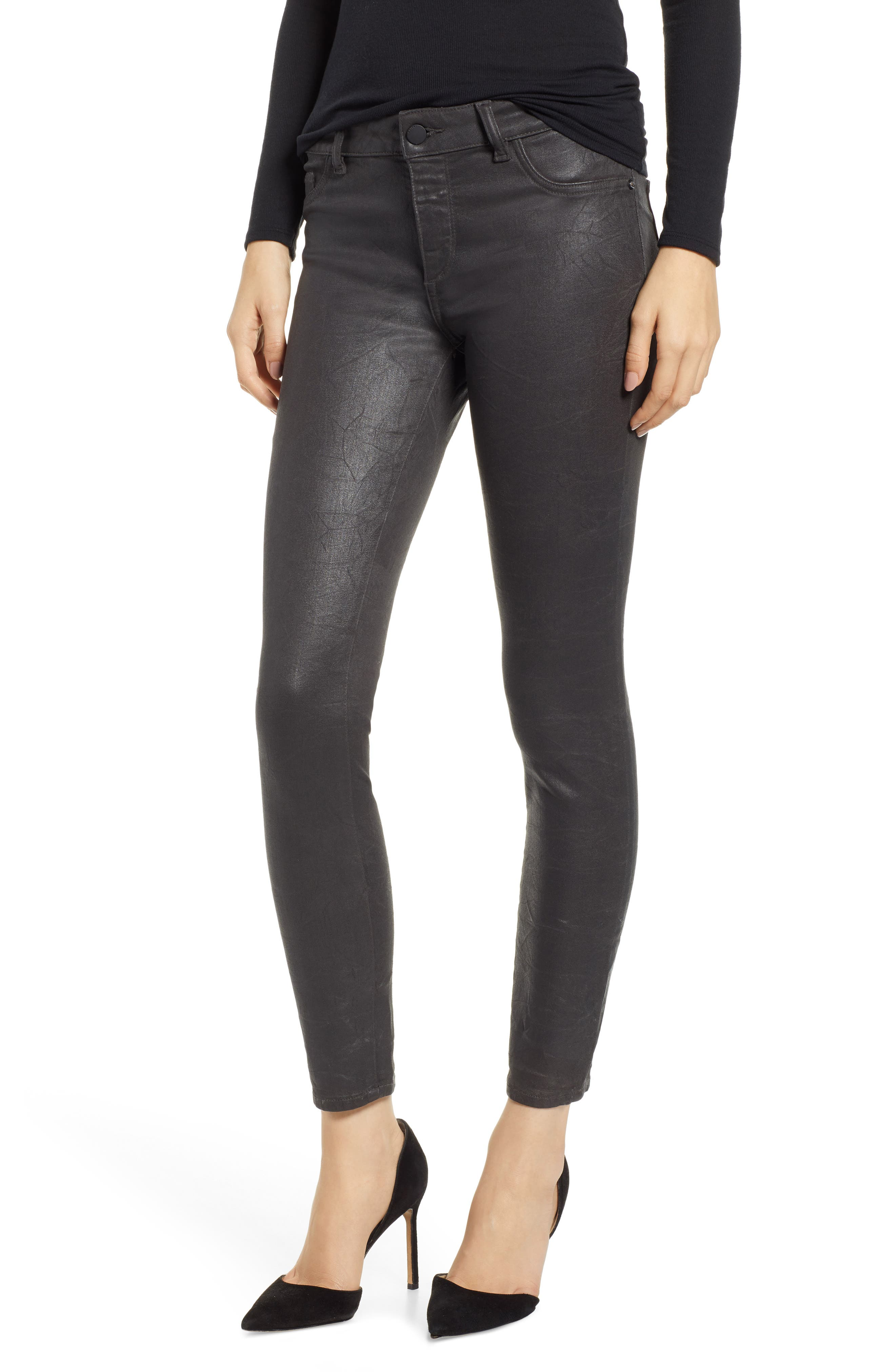 Florence Instasculpt Coated Ankle Skinny Jeans,                             Main thumbnail 1, color,                             PEWTER
