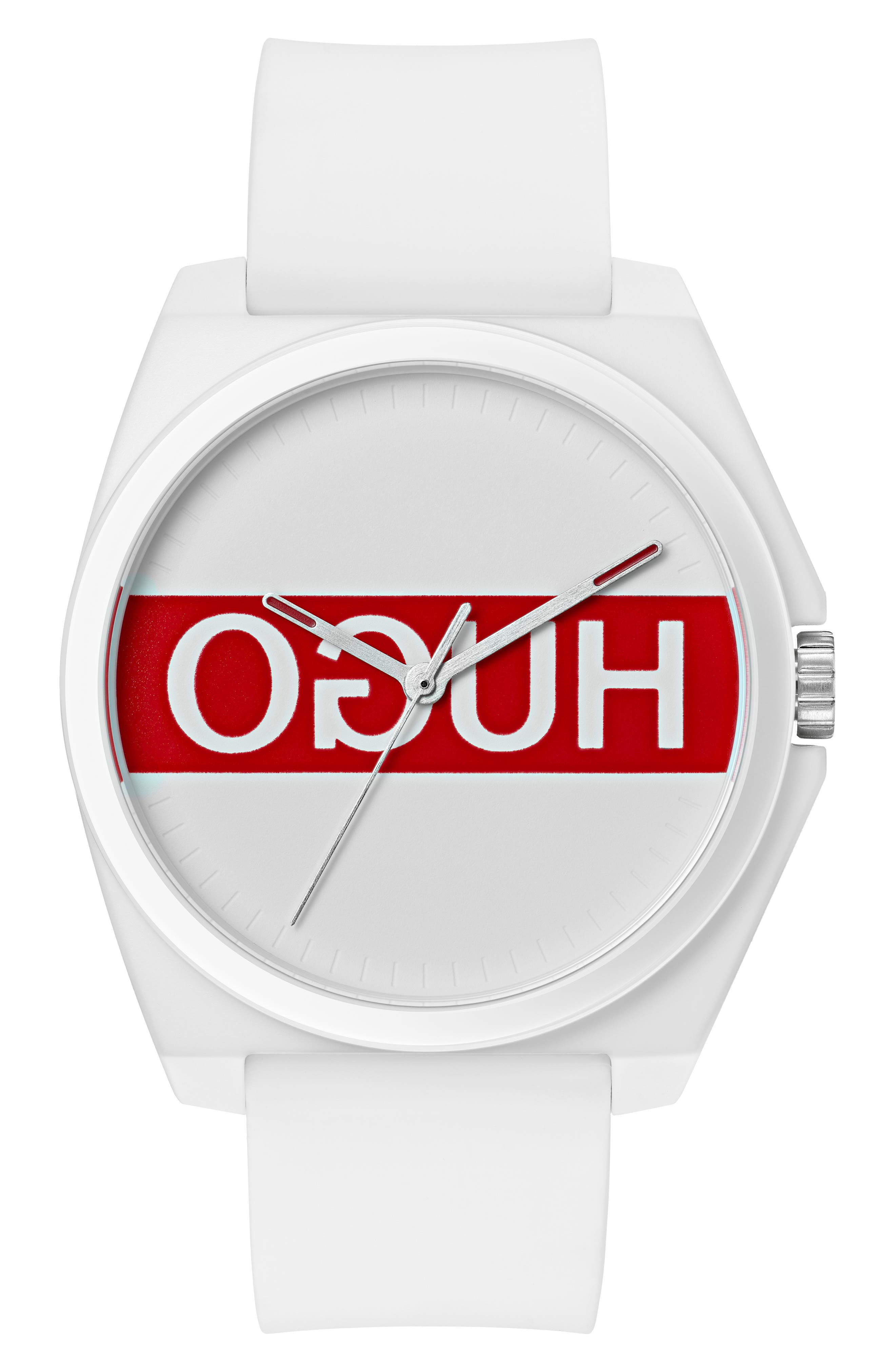 HUGO #Play White & Red Watch, 40Mm