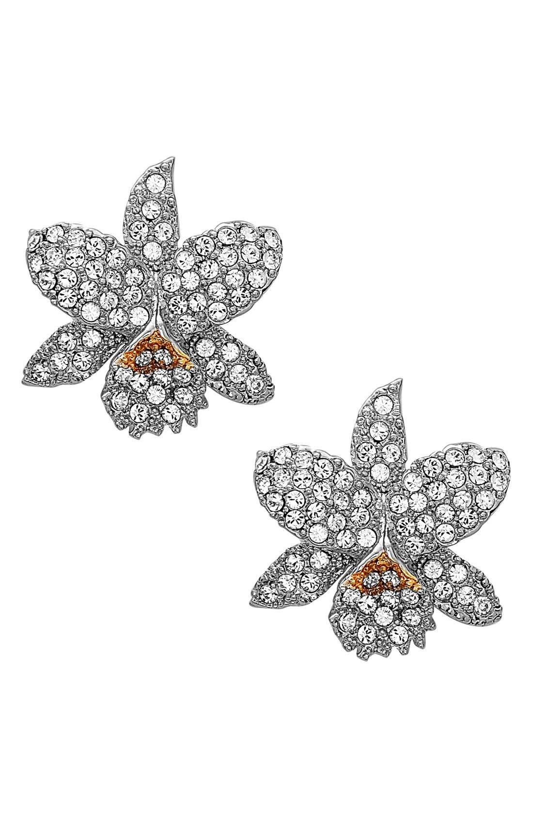 Floral Crystal Stud Earrings,                         Main,                         color,