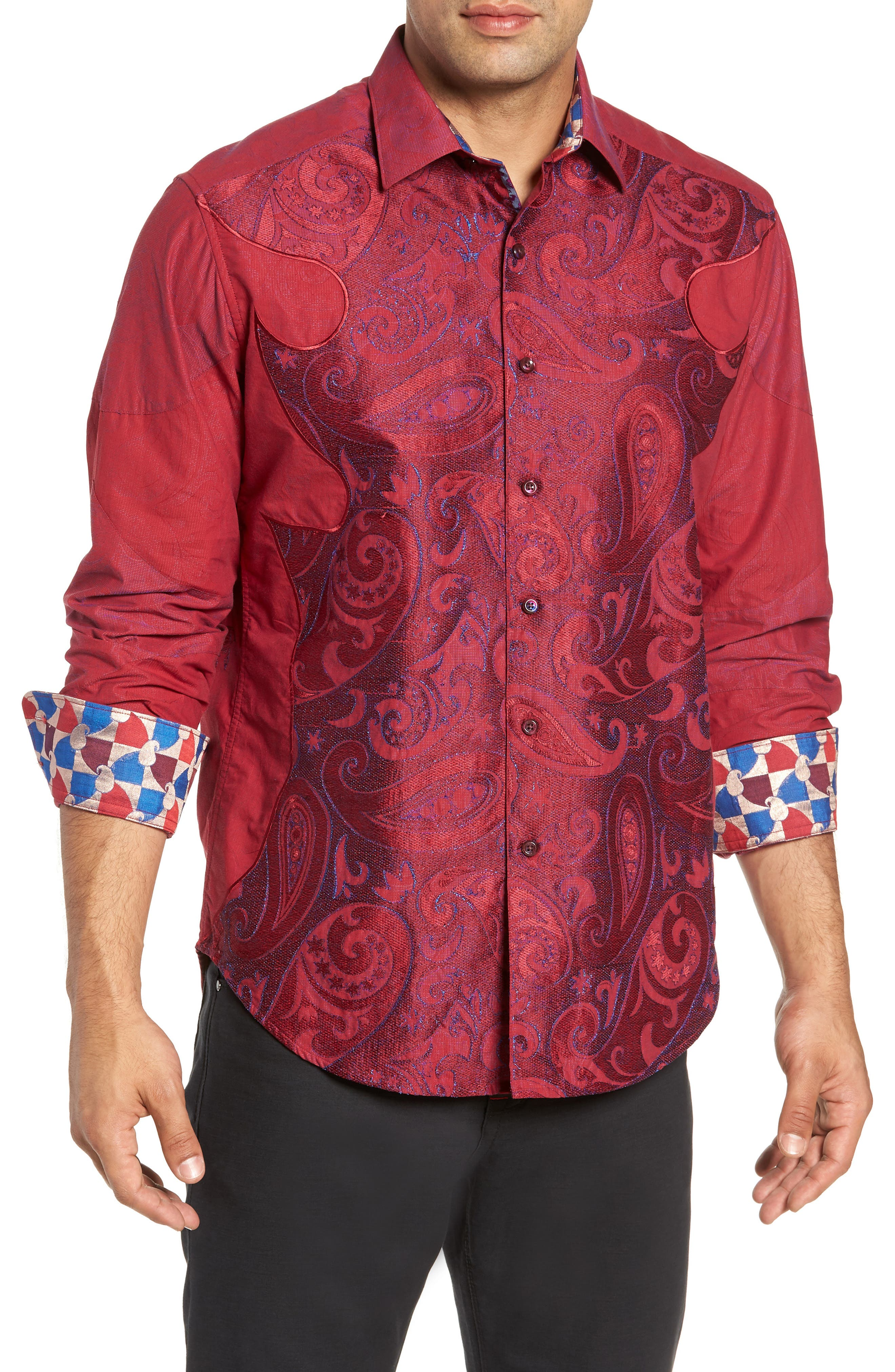 Lyons Hearted Limited Edition Classic Fit Sport Shirt,                             Main thumbnail 1, color,                             RED