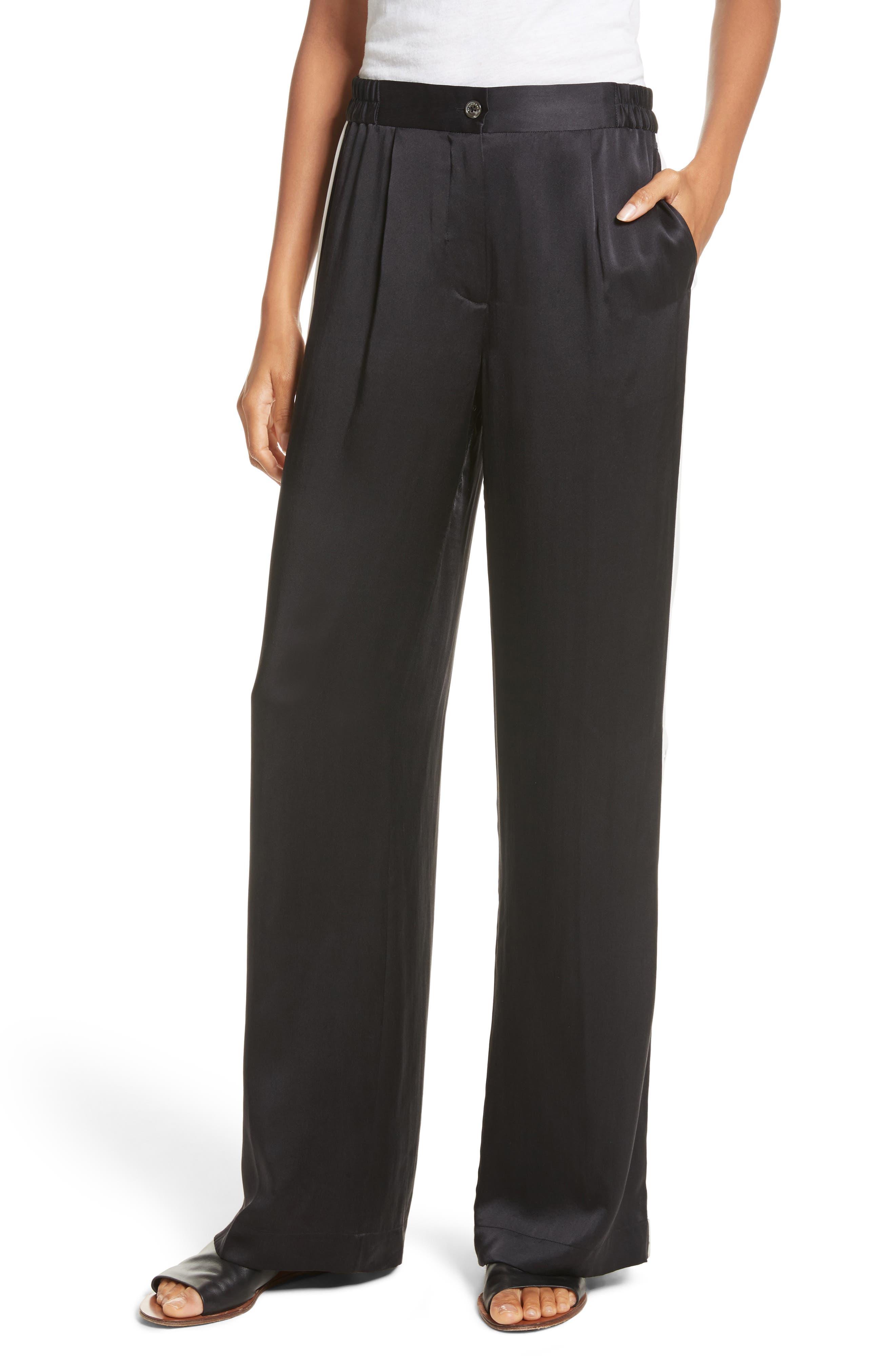 Arwen Wide Leg Silk Pants,                         Main,                         color, 003