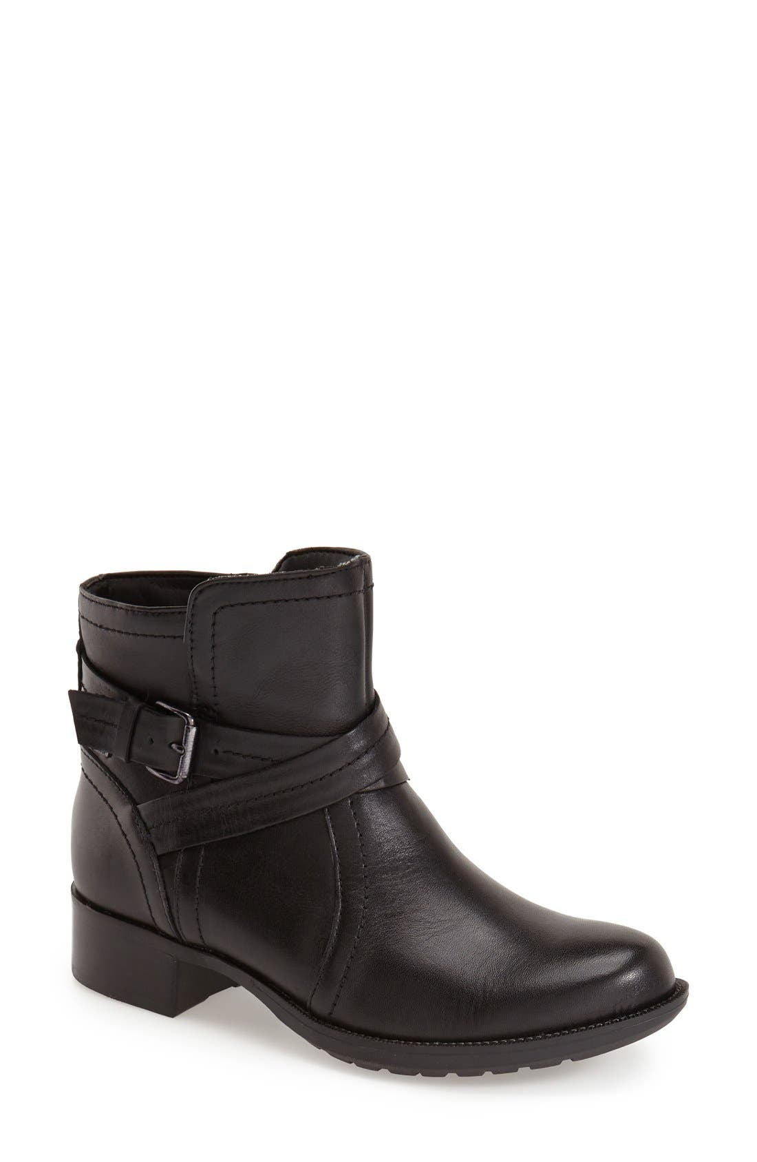 Caroline Waterproof Boot,                             Main thumbnail 1, color,                             BLACK LEATHER