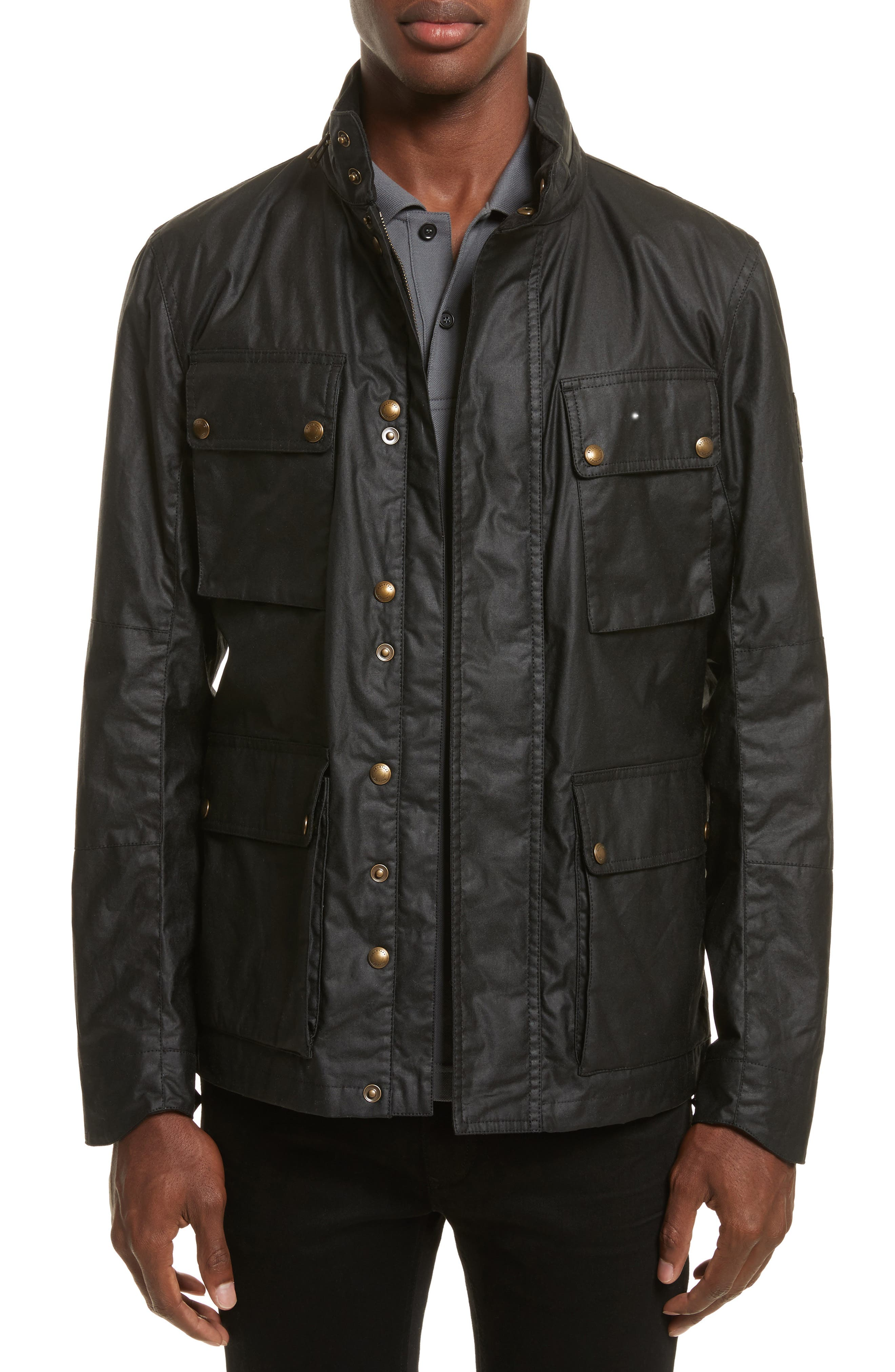 Explorer Waxed Cotton Jacket,                         Main,                         color, BLACK