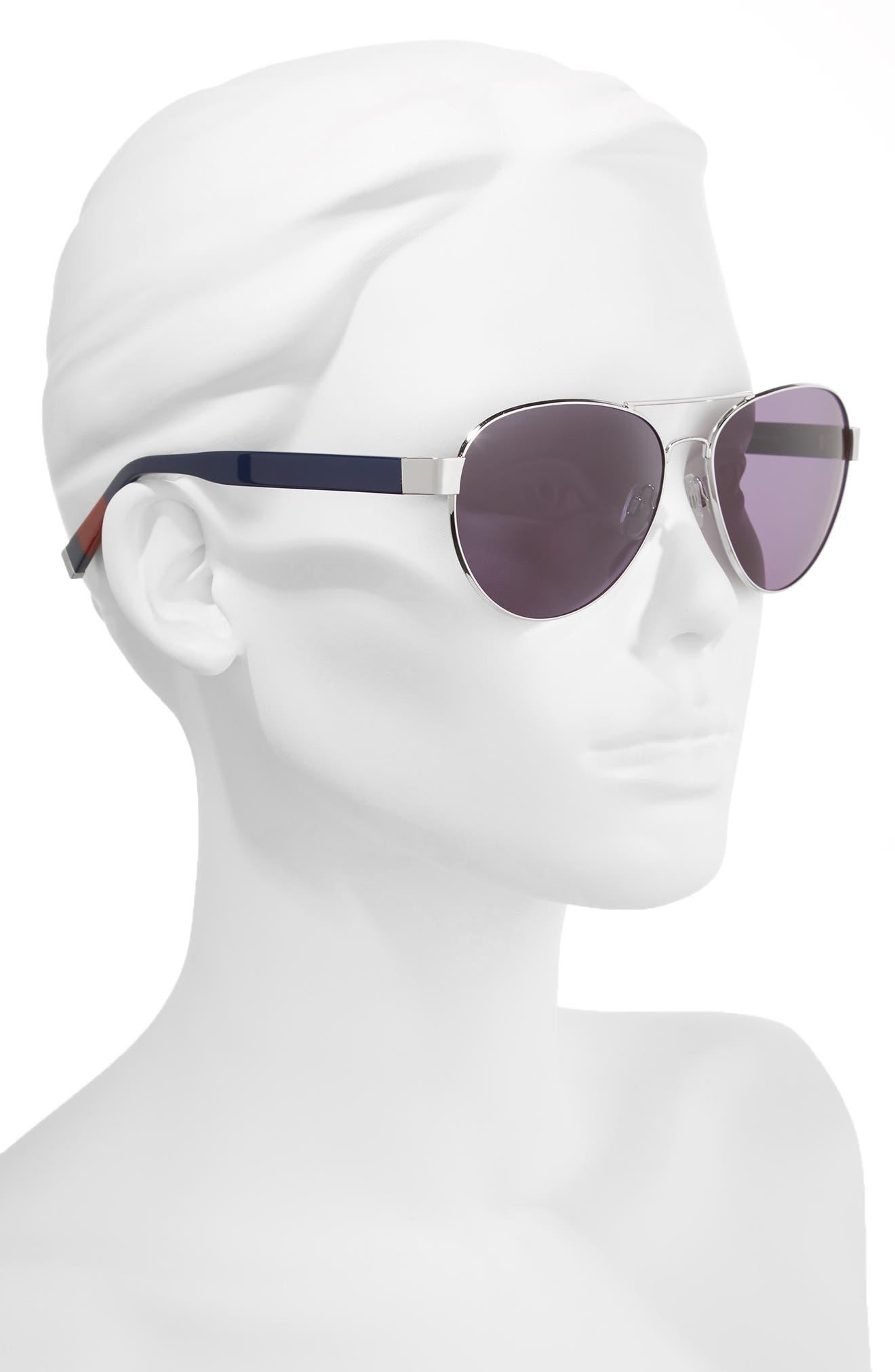 62mm Oversize Aviator Sunglasses,                             Alternate thumbnail 2, color,                             SILVER BLUE