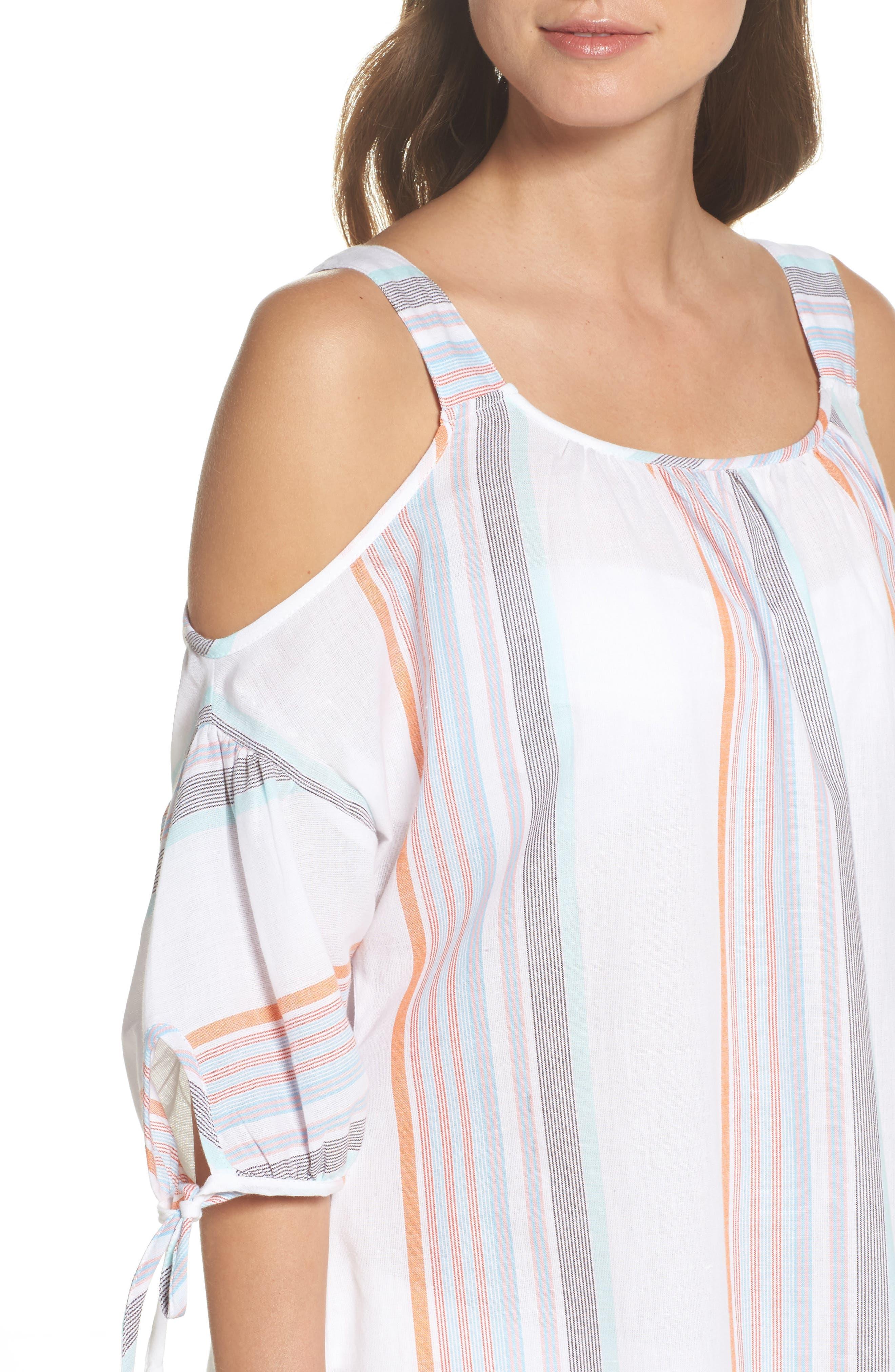 Sunset Stripe Cold Shoulder Cover-Up Dress,                             Alternate thumbnail 4, color,                             100