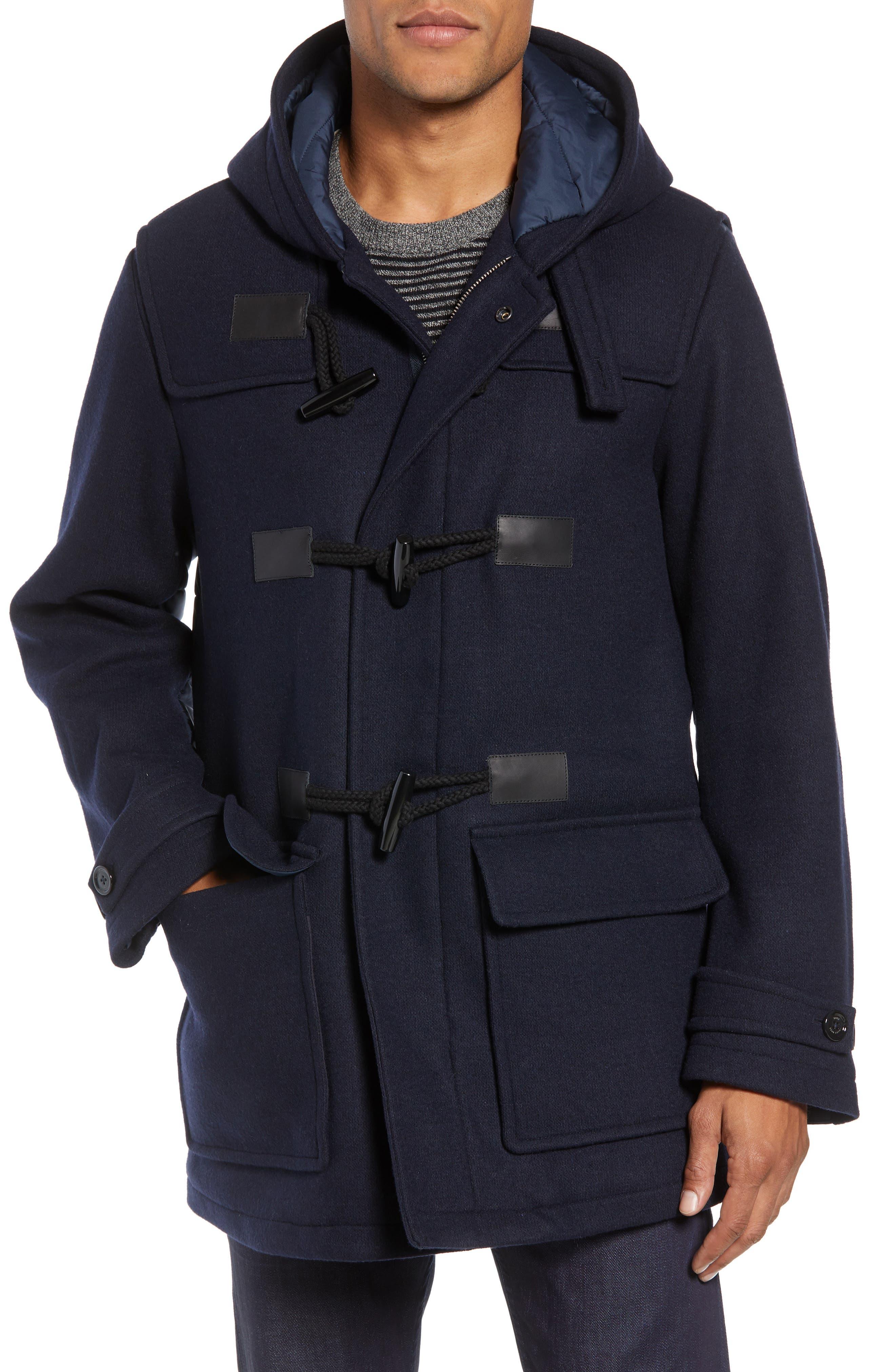 Casil Mixed Media Duffle Coat,                             Alternate thumbnail 4, color,                             BLUE