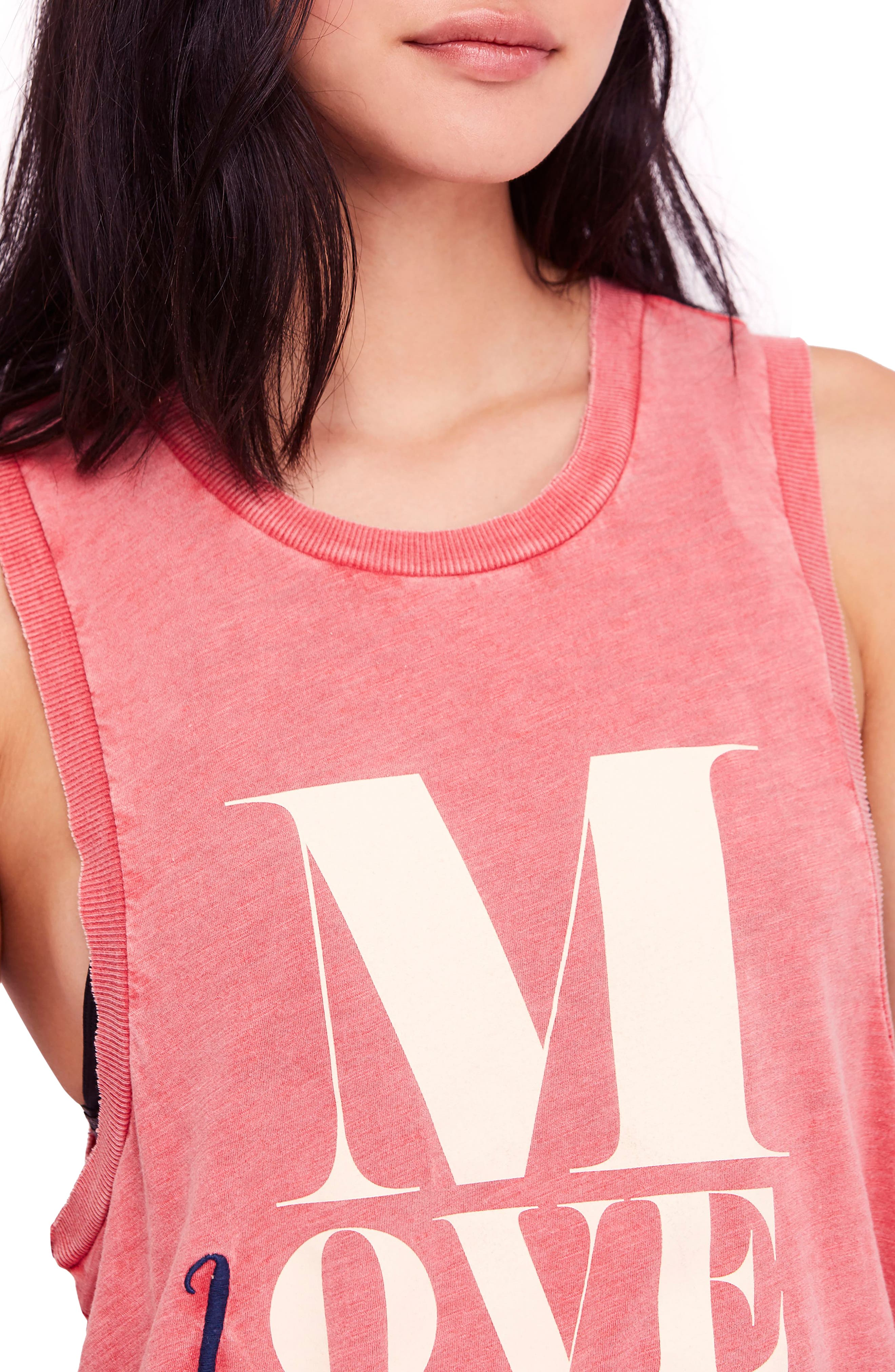 free people Move Graphic Tank,                             Alternate thumbnail 4, color,                             RED