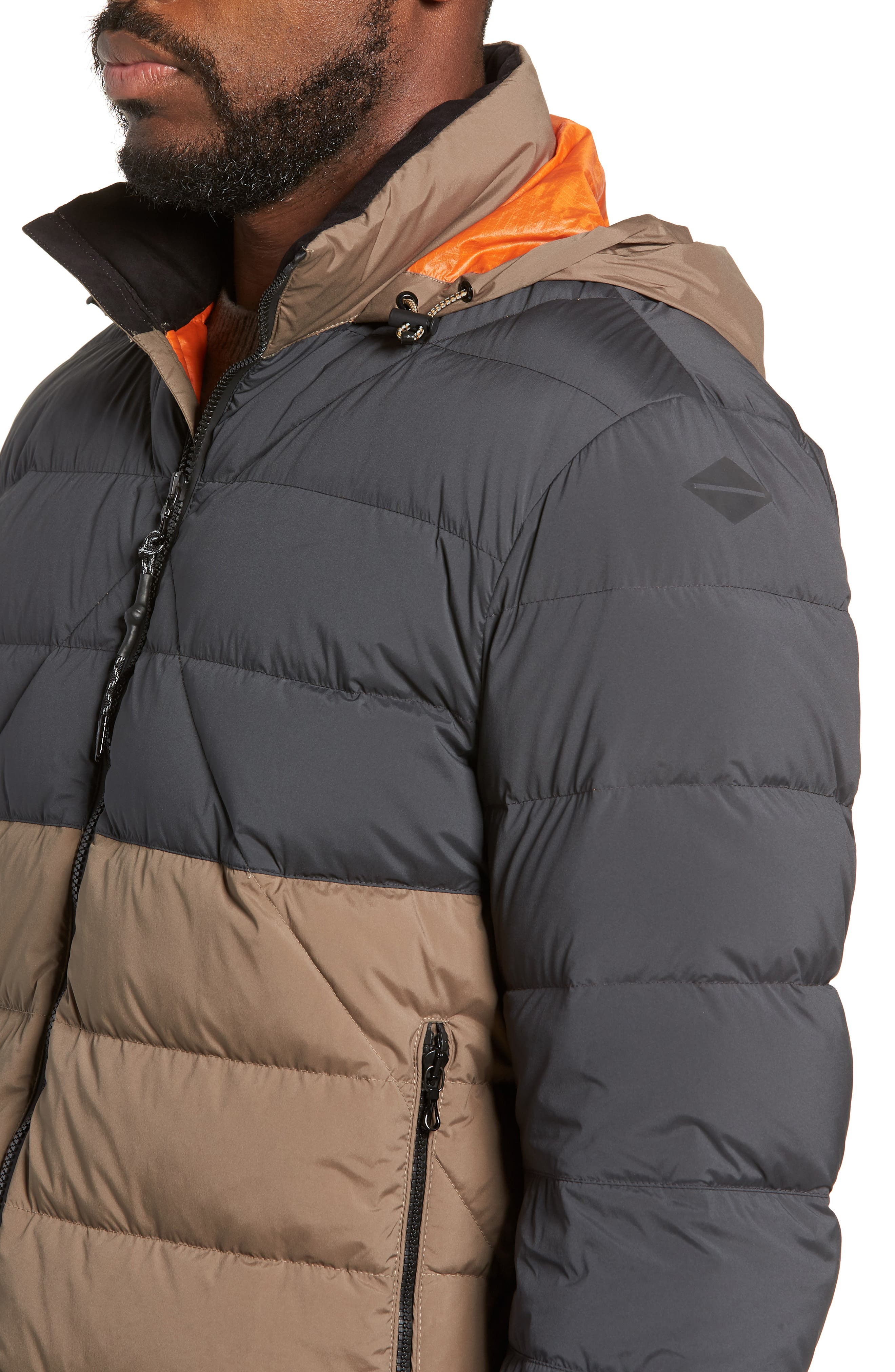 Regular Fit Wes Packable Down Jacket,                             Alternate thumbnail 4, color,                             BLACK/ ARMY