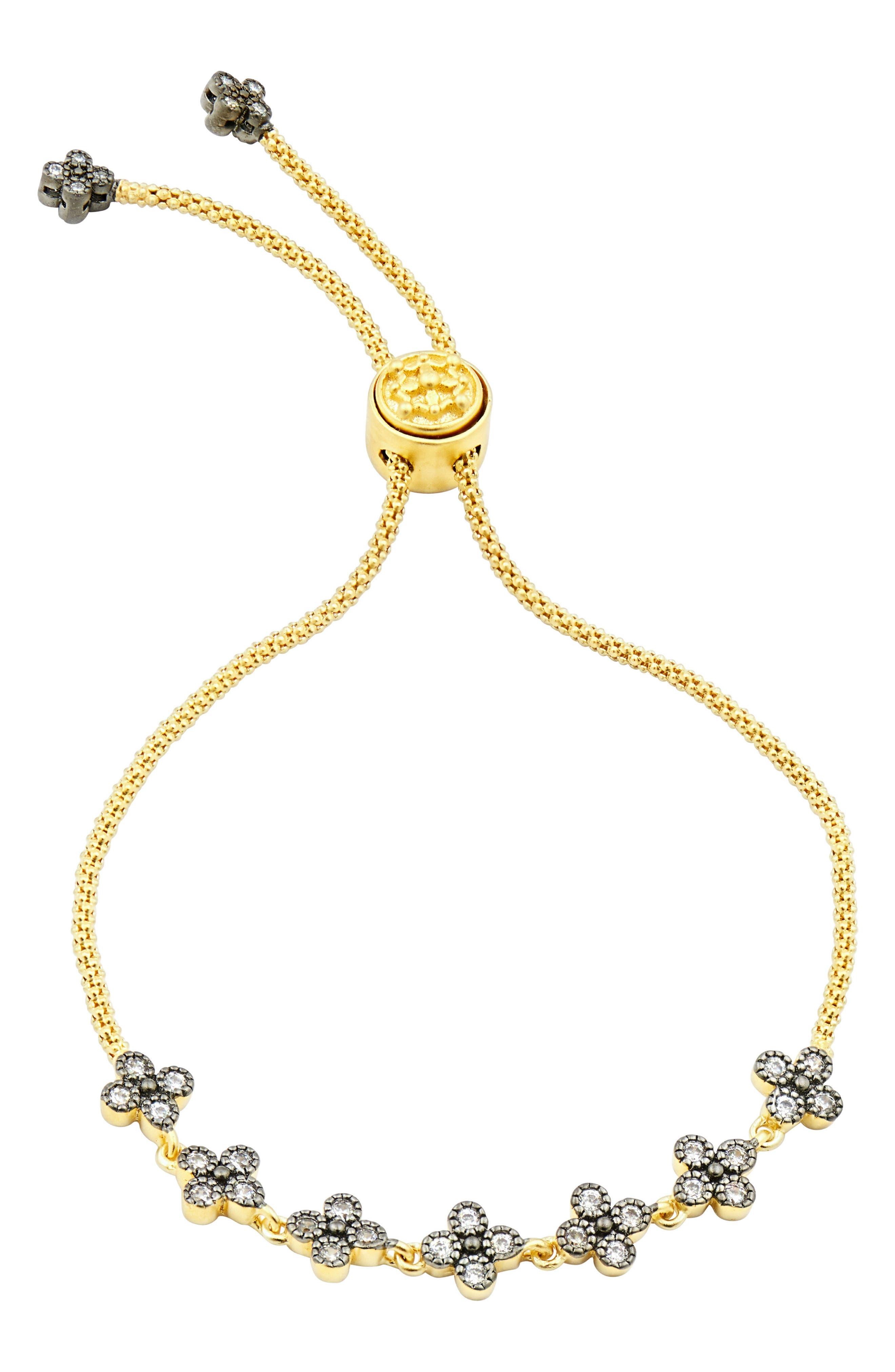 Adjustable Clover Bracelet,                         Main,                         color, GOLD/ SILVER