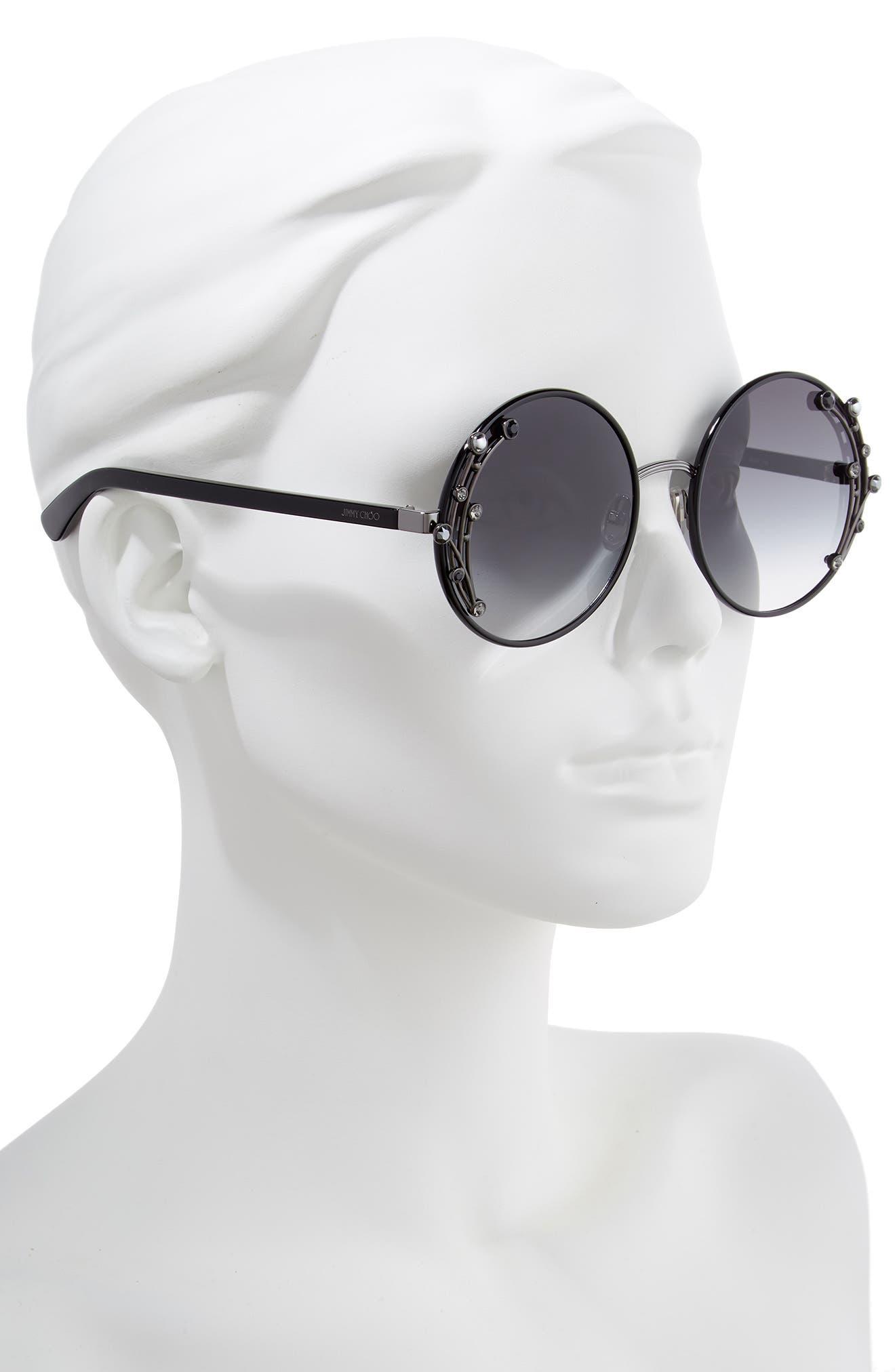 JIMMY CHOO,                             Gema 59mm Round Sunglasses,                             Alternate thumbnail 2, color,                             BLACK