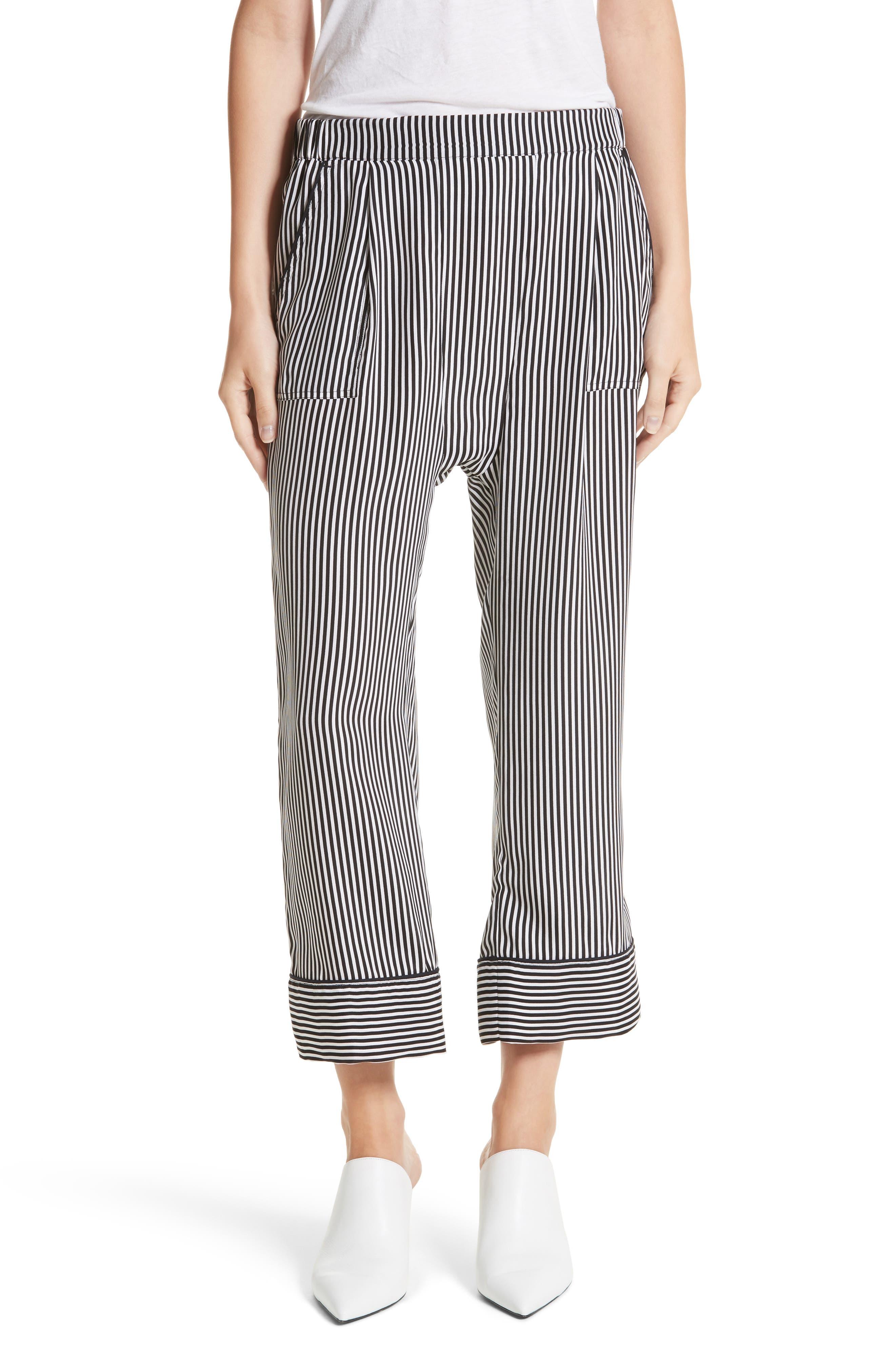 Pencil Stripe Silk Pajama Trousers,                         Main,                         color, 001